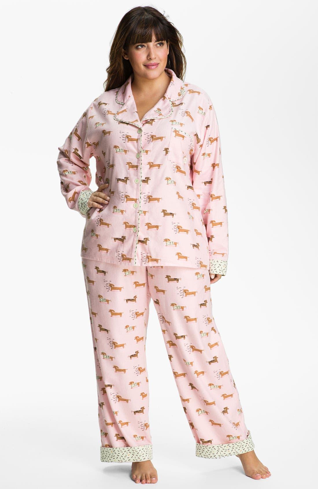 Alternate Image 1 Selected - Munki Munki Print Flannel Pajamas (Plus Size)