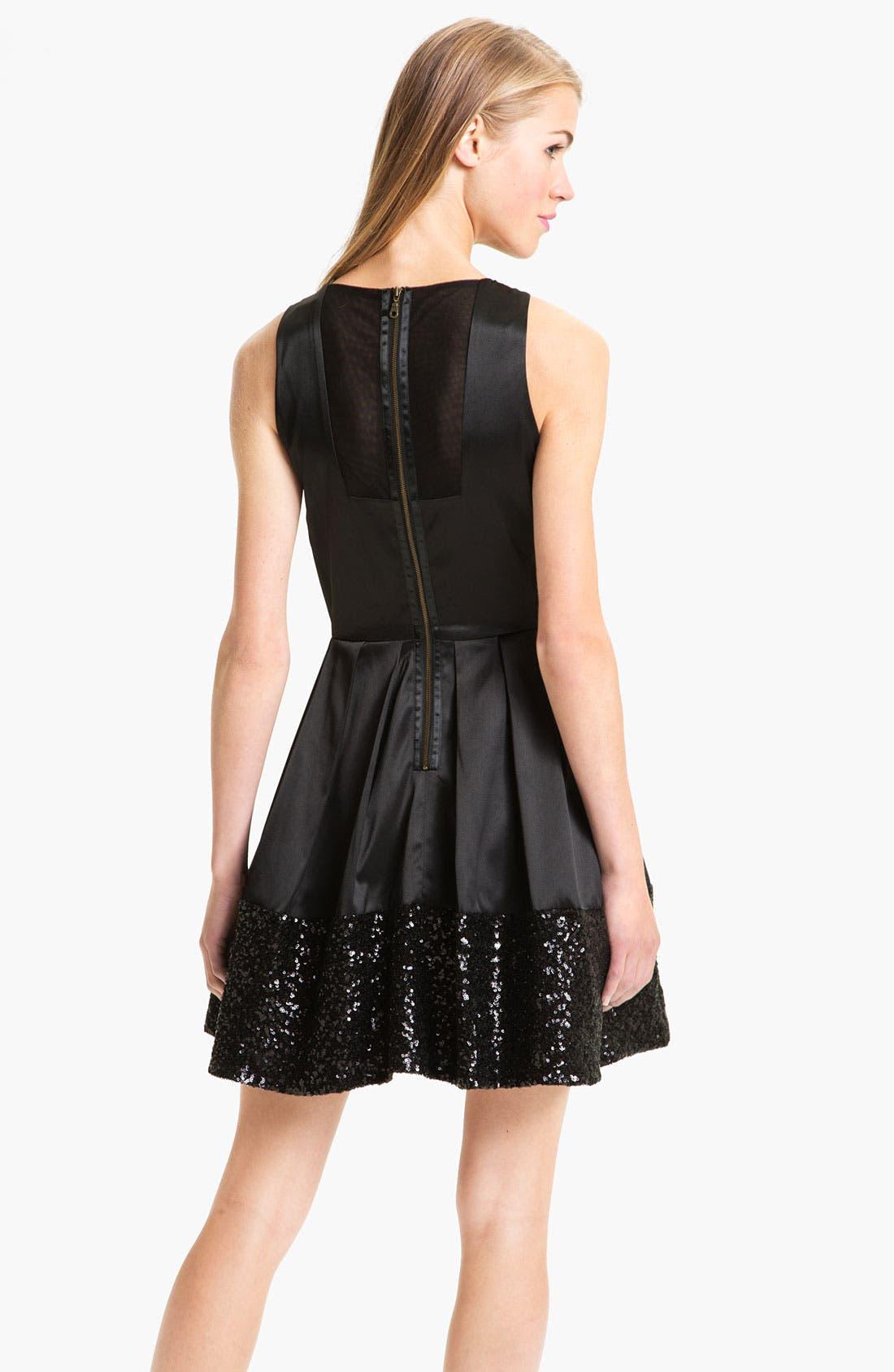 Alternate Image 2  - Taylor Dresses Sequin Hem Satin Fit & Flare Dress