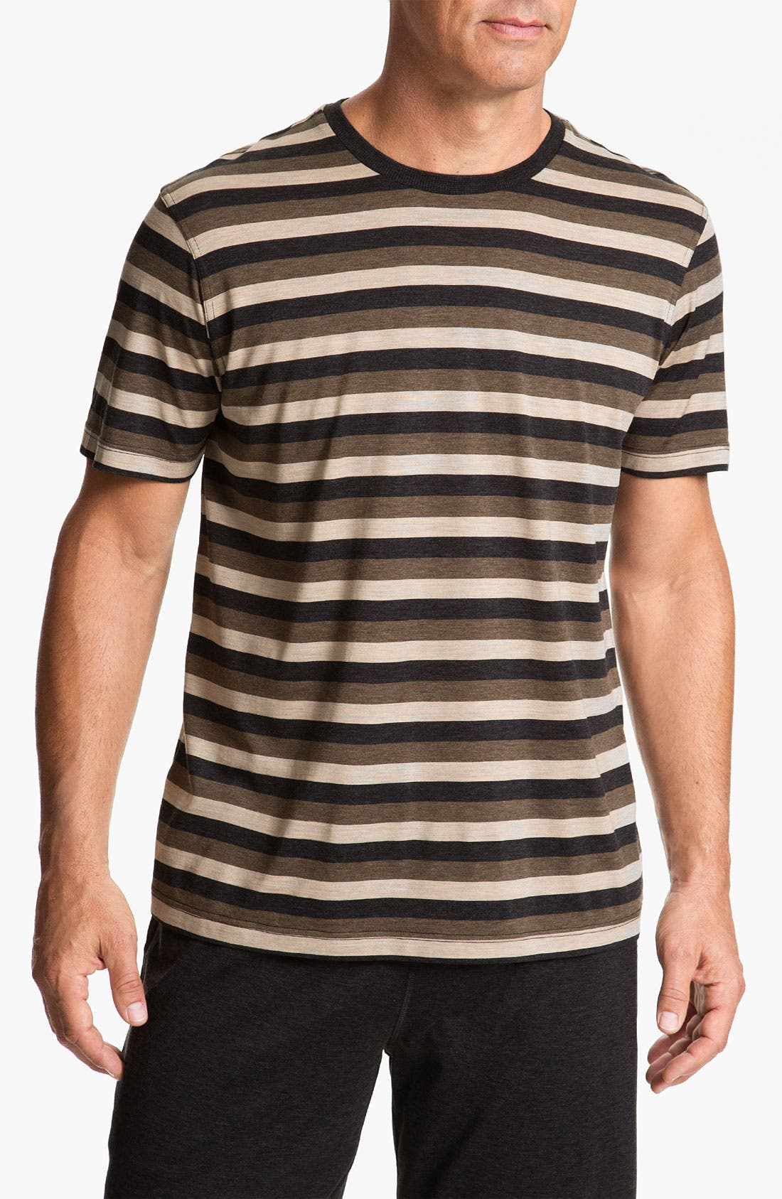 Main Image - Daniel Buchler Silk Blend Heathered Stripe T-Shirt