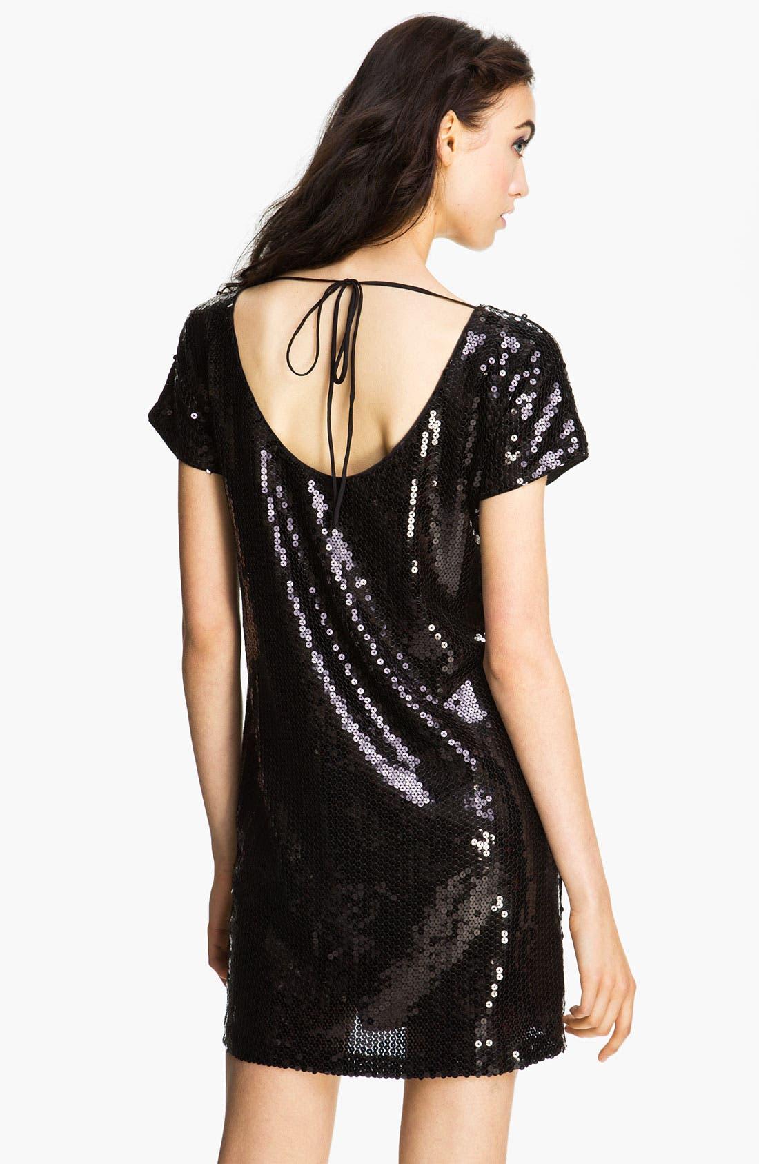Alternate Image 2  - Donna Morgan Short Sleeve Sequin Shift Dress