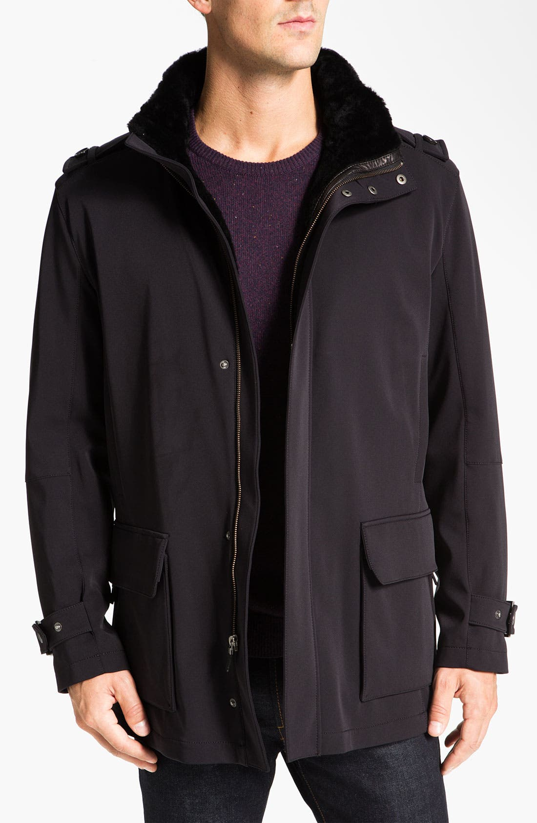 Alternate Image 1  - Cole Haan Water Resistant Jacket With Genuine Shearling Lining