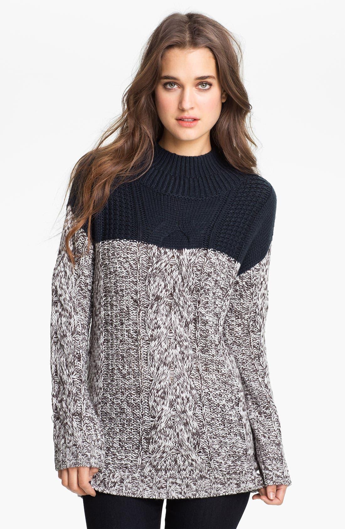 Main Image - Trouvé Colorblock Cable Sweater