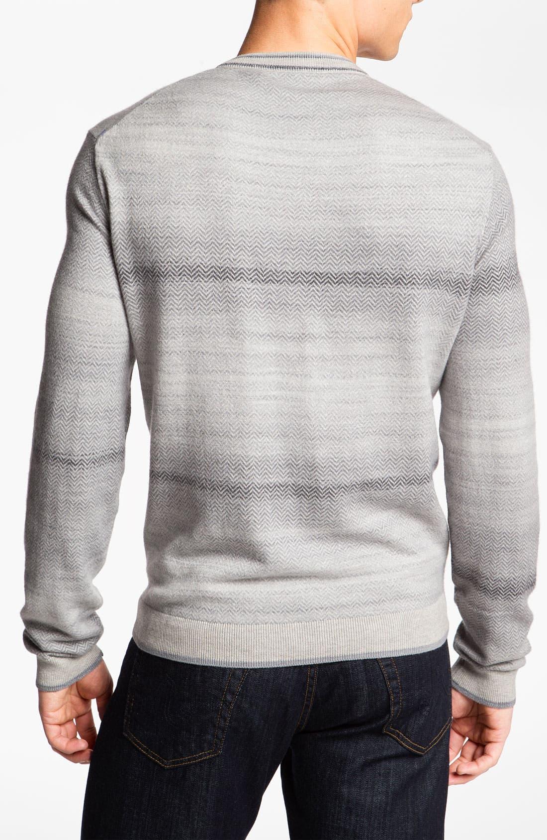 Alternate Image 2  - Hickey Freeman V-Neck Herringbone Sweater