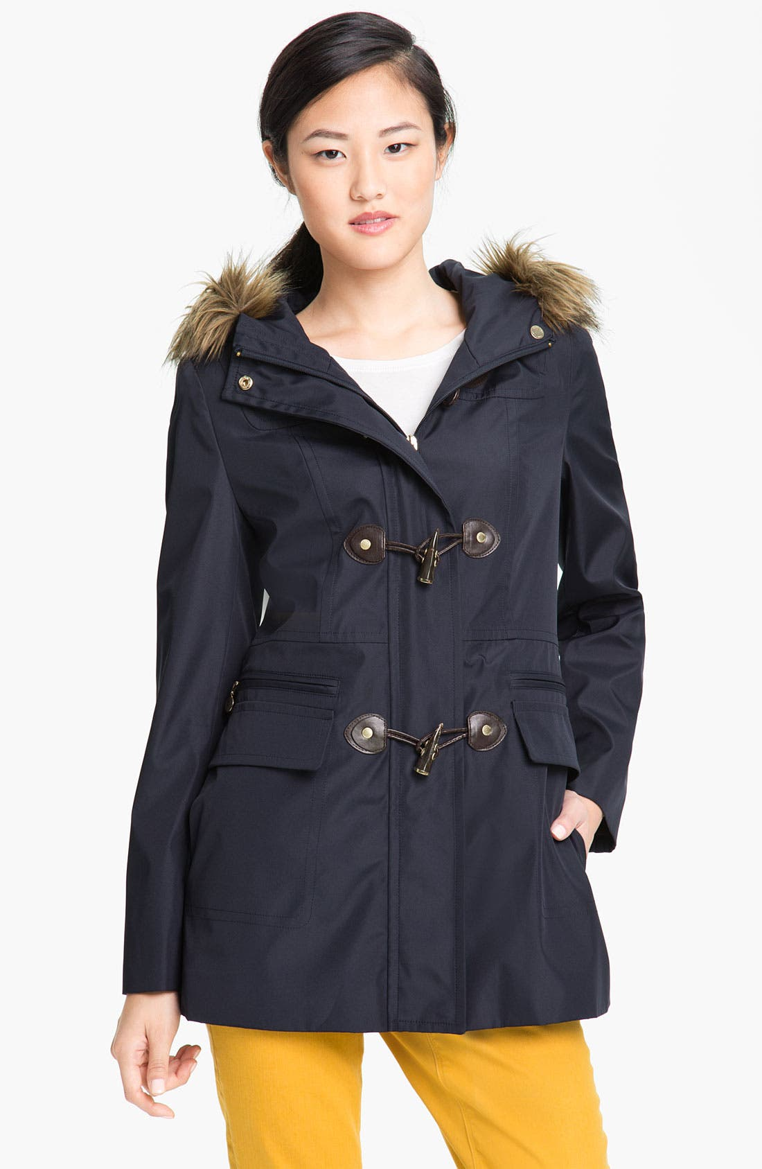 Alternate Image 1 Selected - Calvin Klein Faux Fur Trim Hooded Jacket