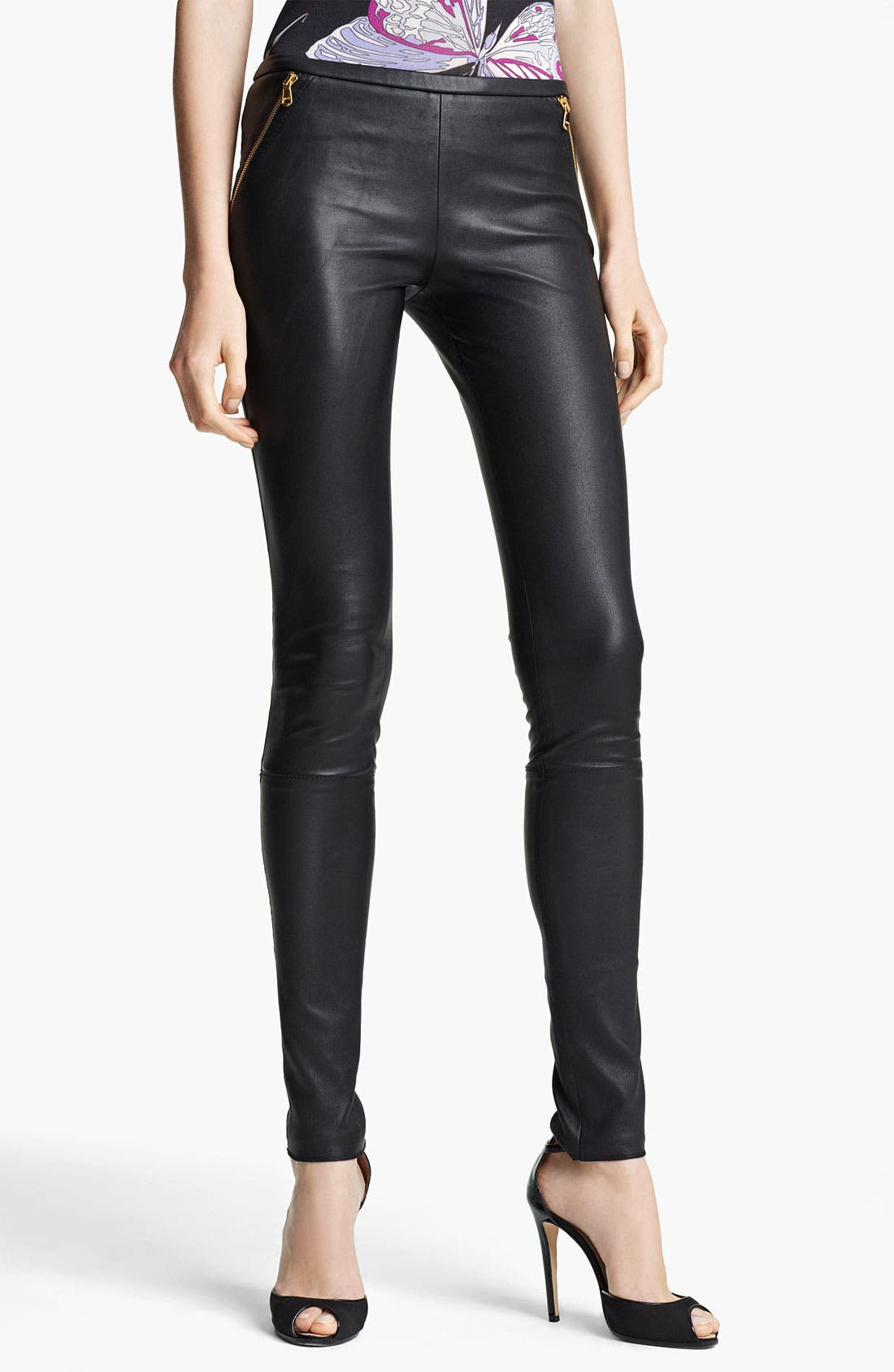 Alternate Image 1 Selected - Emilio Pucci Lambskin Leather Leggings