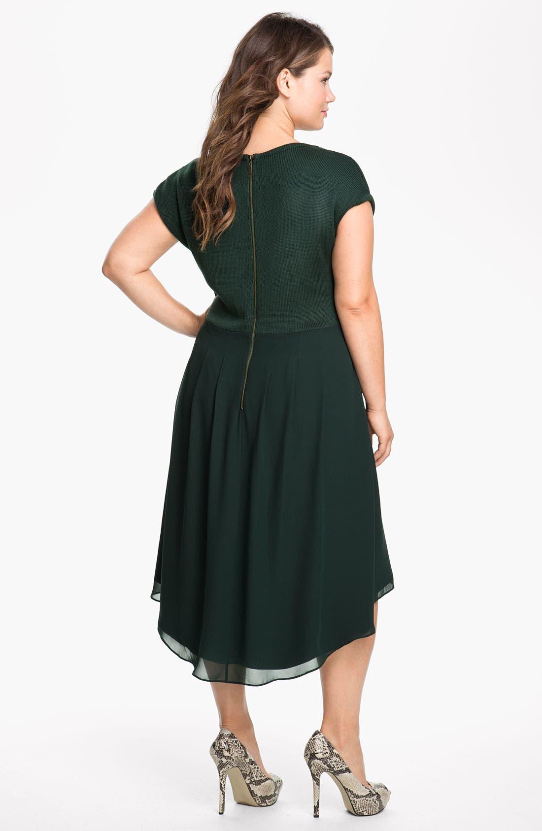 Alternate Image 2  - Jessica Simpson Mock Two Piece Asymmetrical Dress (Plus)
