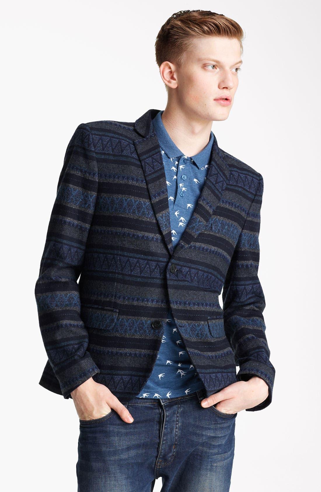 Alternate Image 1 Selected - Topman Stripe Pattern Blazer