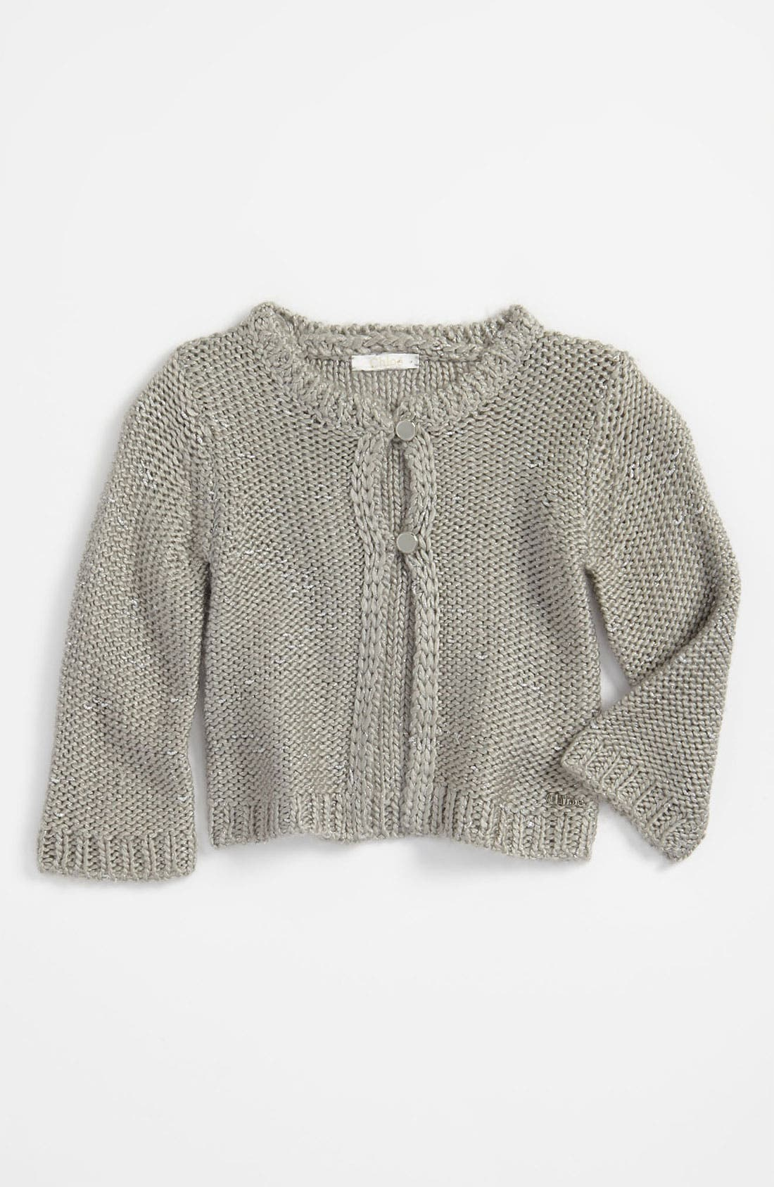 Main Image - Chloé Metallic Knit Cardigan (Infant)