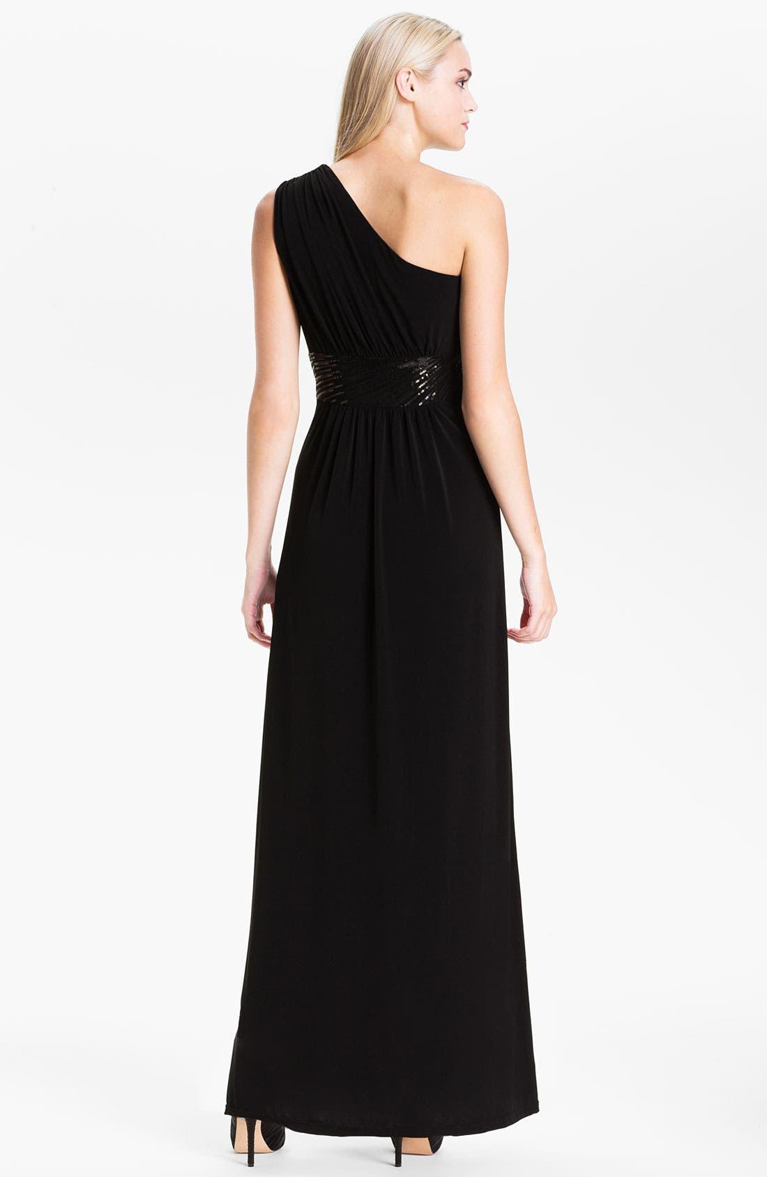 Alternate Image 2  - Calvin Klein Sequin Waist One Shoulder Jersey Gown