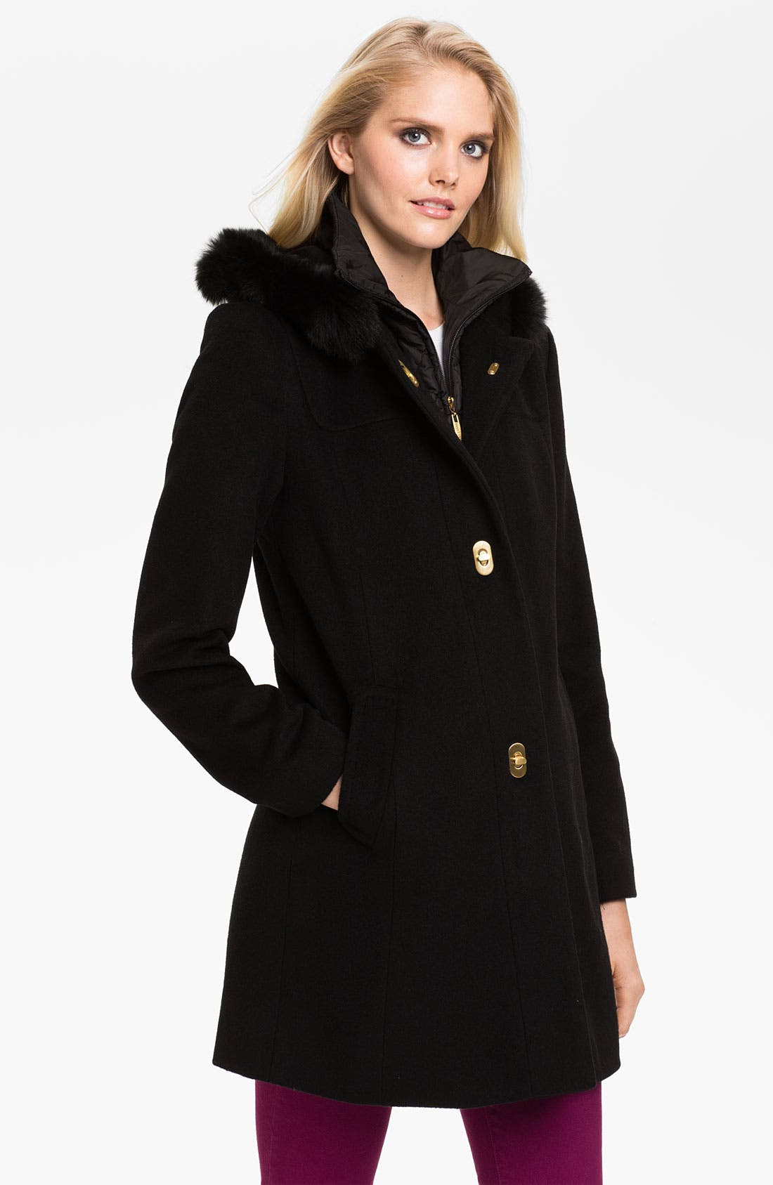 Alternate Image 1 Selected - Ellen Tracy Turnkey Coat with Fur Trim Hood (Online Exclusive)