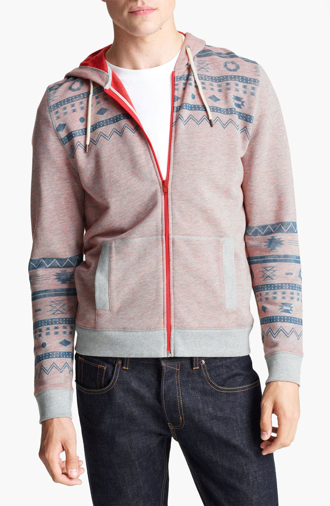 Alternate Image 1 Selected - Topman Aztec Print Zip Hoodie