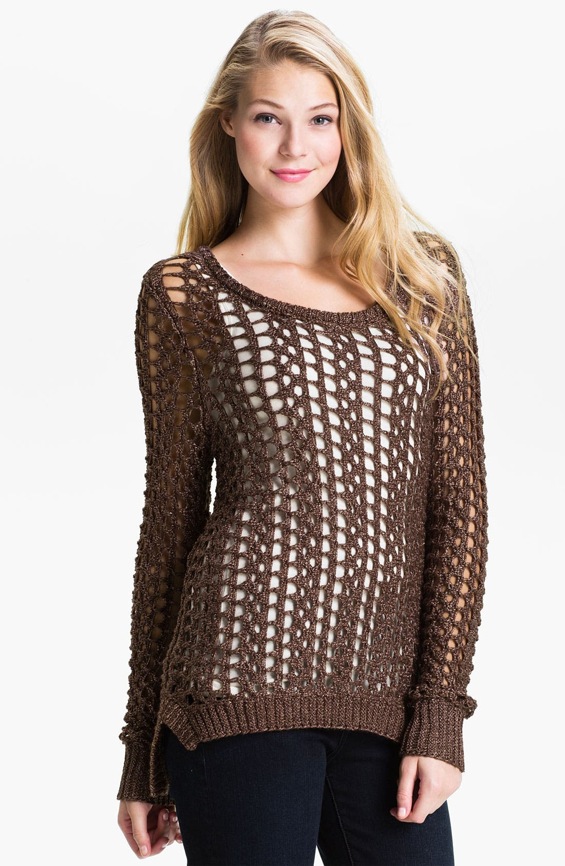 Alternate Image 1 Selected - Lucky Brand 'Macey' Metallic Sweater
