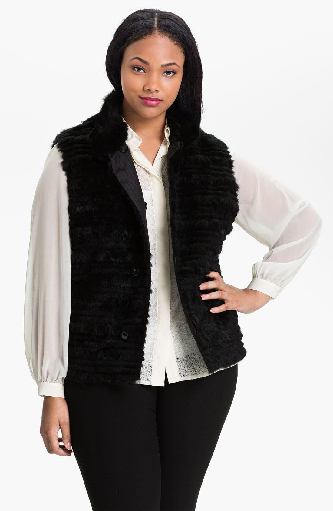 Main Image - George Simonton Couture Genuine Rabbit Fur & Silk Reversible Vest (Plus)