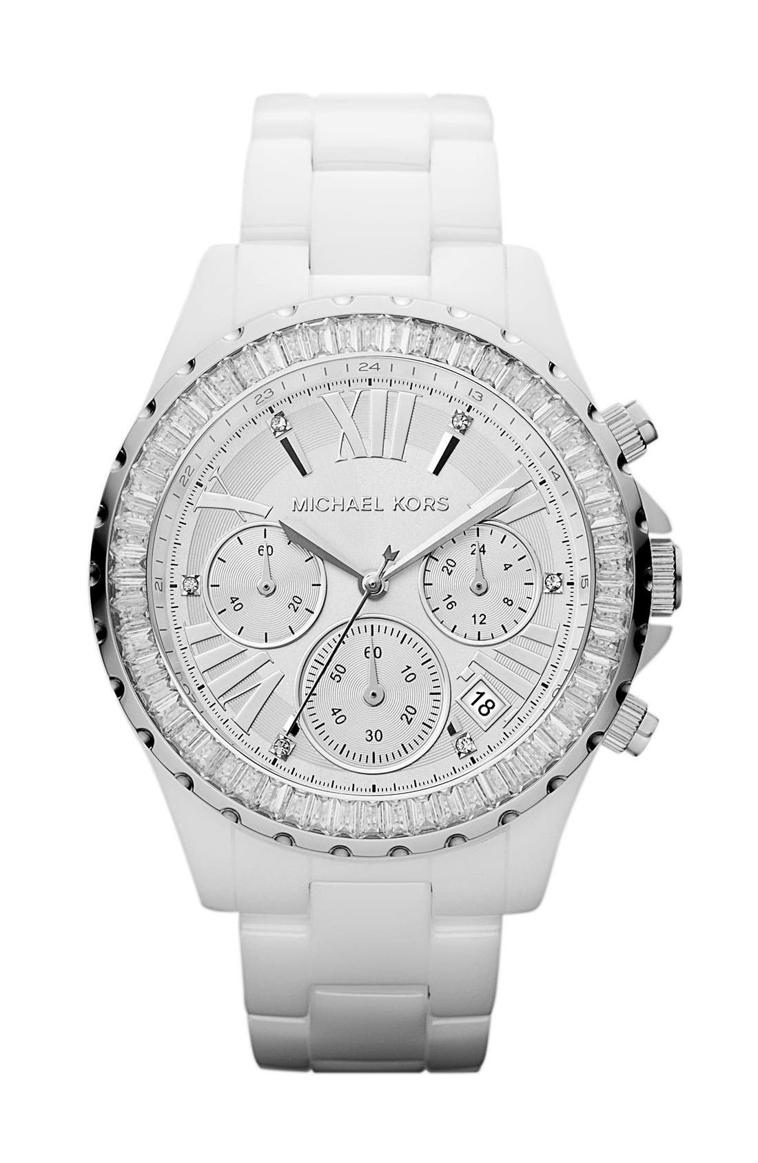 Alternate Image 1 Selected - Michael Kors 'Madison' Crystal Bezel Ceramic Watch, 41mm