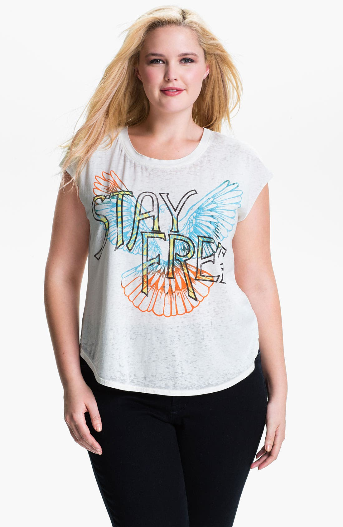 Alternate Image 1 Selected - Signorelli 'Stay Free' Cap Sleeve Tee (Plus)