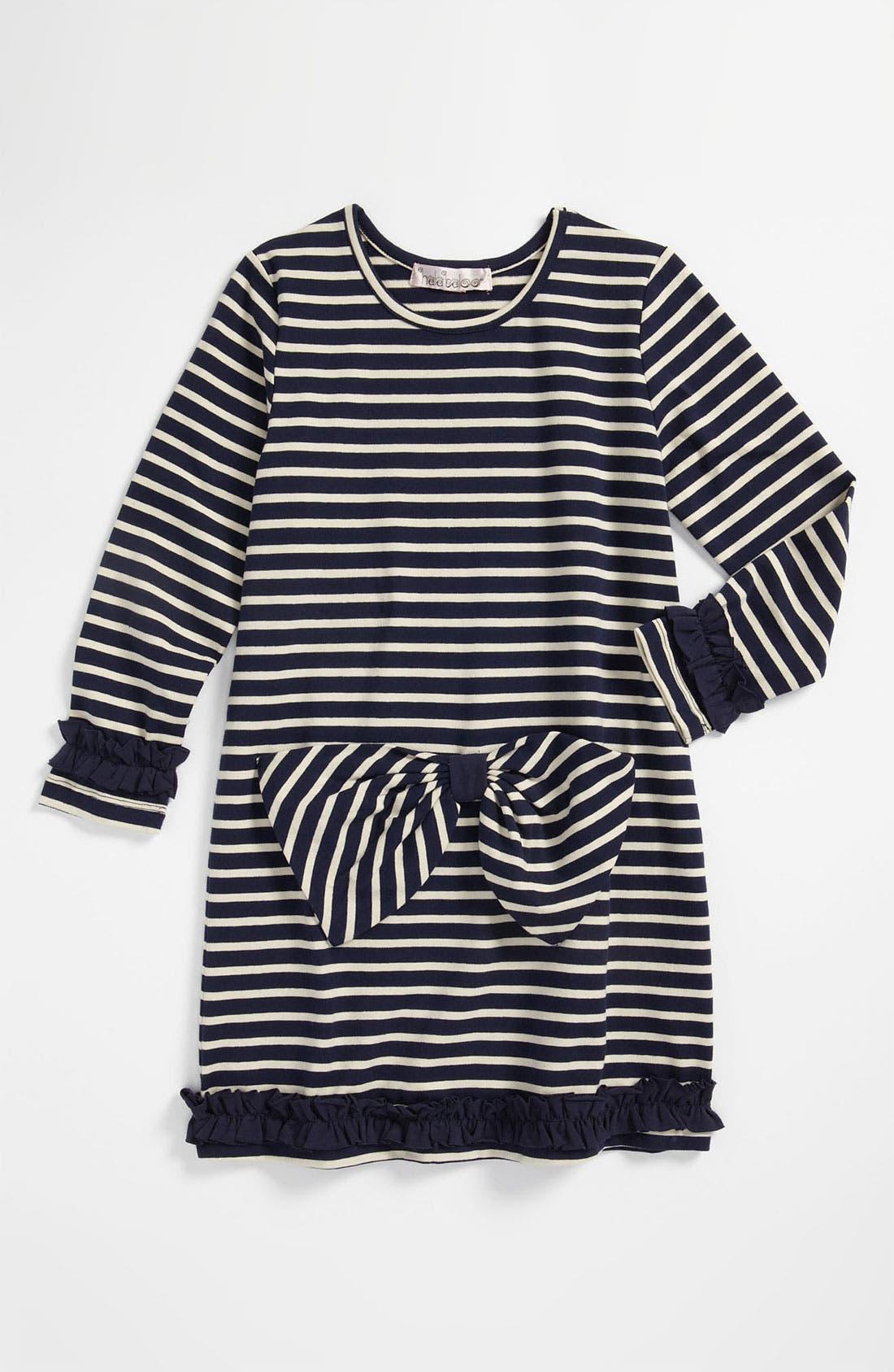 Main Image - Halabaloo Stripe Bow Dress (Little Girls & Big Girls)