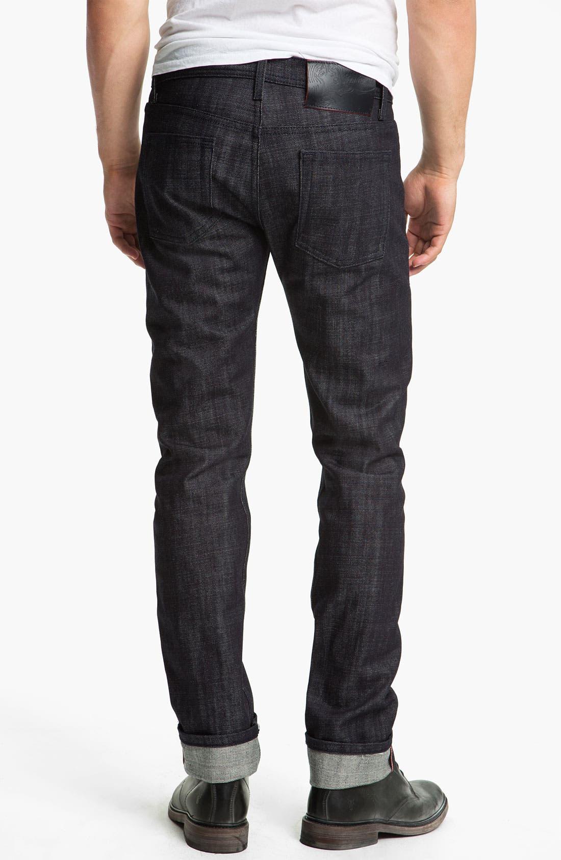 Alternate Image 1 Selected - Naked & Famous Denim 'Weird Guy' Slim Tapered Leg Red Core Selvedge Jeans (Indigo)