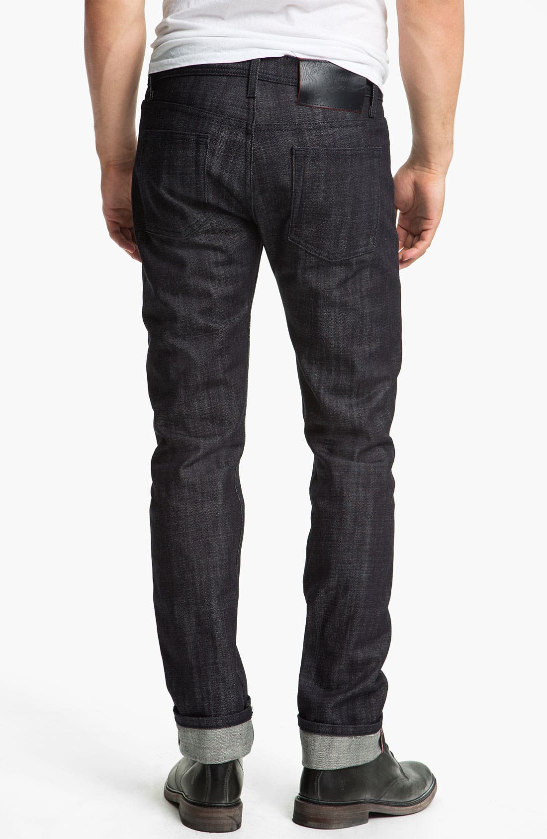 Main Image - Naked & Famous Denim 'Weird Guy' Slim Tapered Leg Red Core Selvedge Jeans (Indigo)