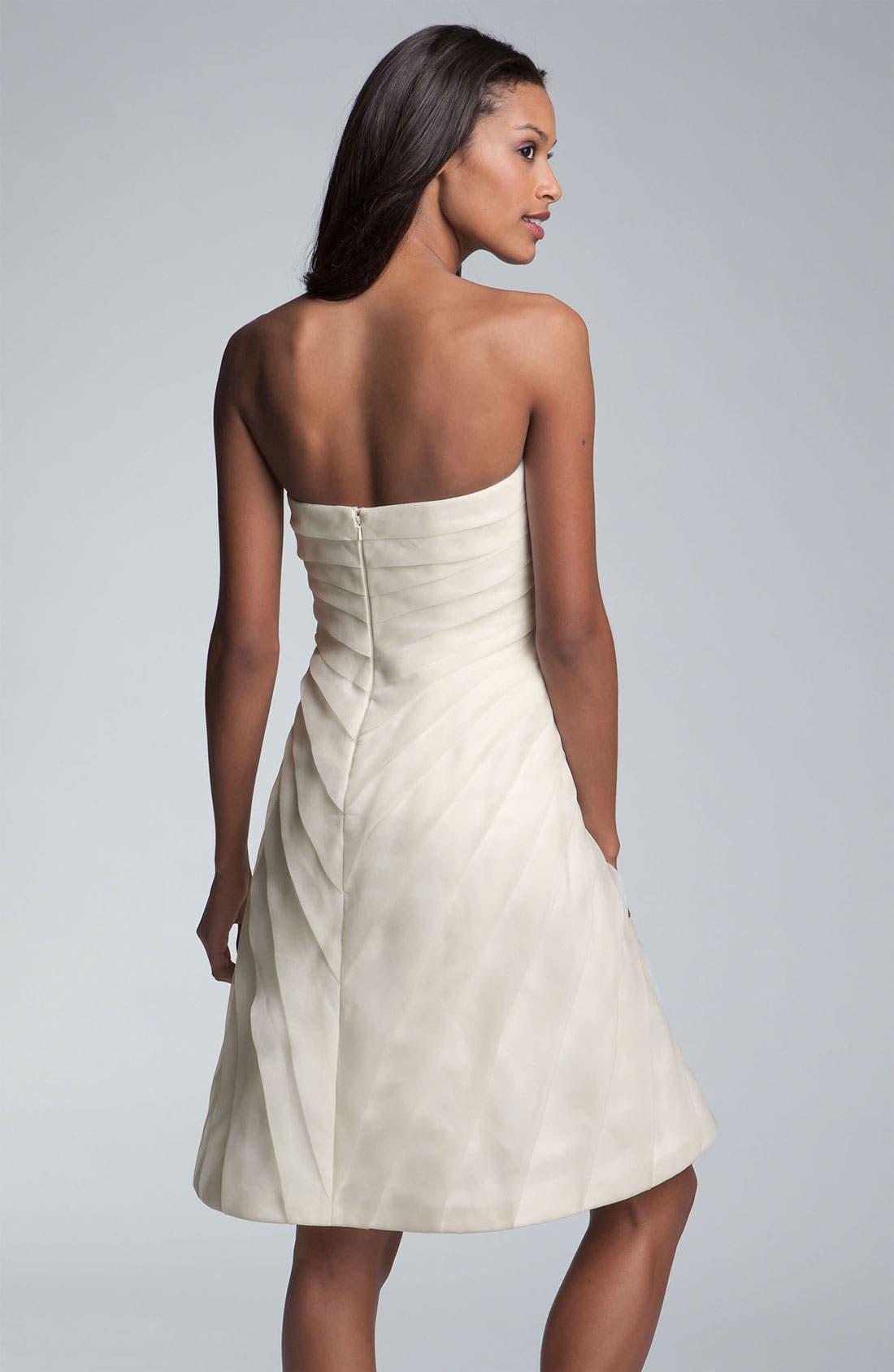 Alternate Image 2  - Carmen Marc Valvo Pleated Rosette Silk Chiffon Dress