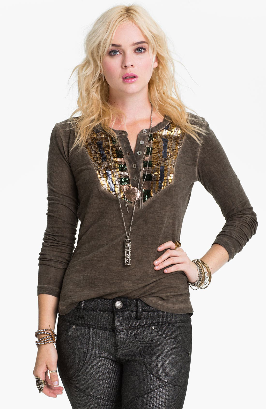 Alternate Image 1 Selected - Free People 'Tiger Eyes' Sequin Bib Henley