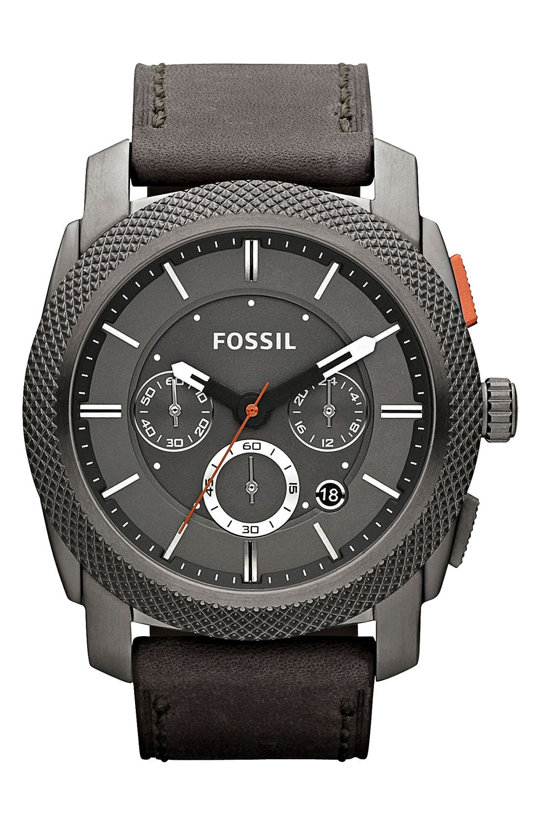 Alternate Image 1 Selected - Fossil 'Machine' Chronograph Leather Strap Watch, 45mm
