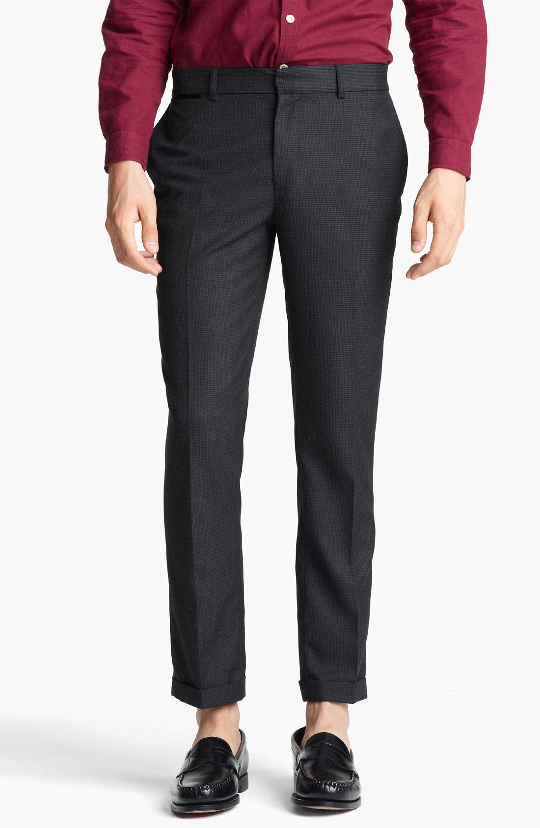 Alternate Image 1 Selected - Topman Houndstooth Skinny Trousers