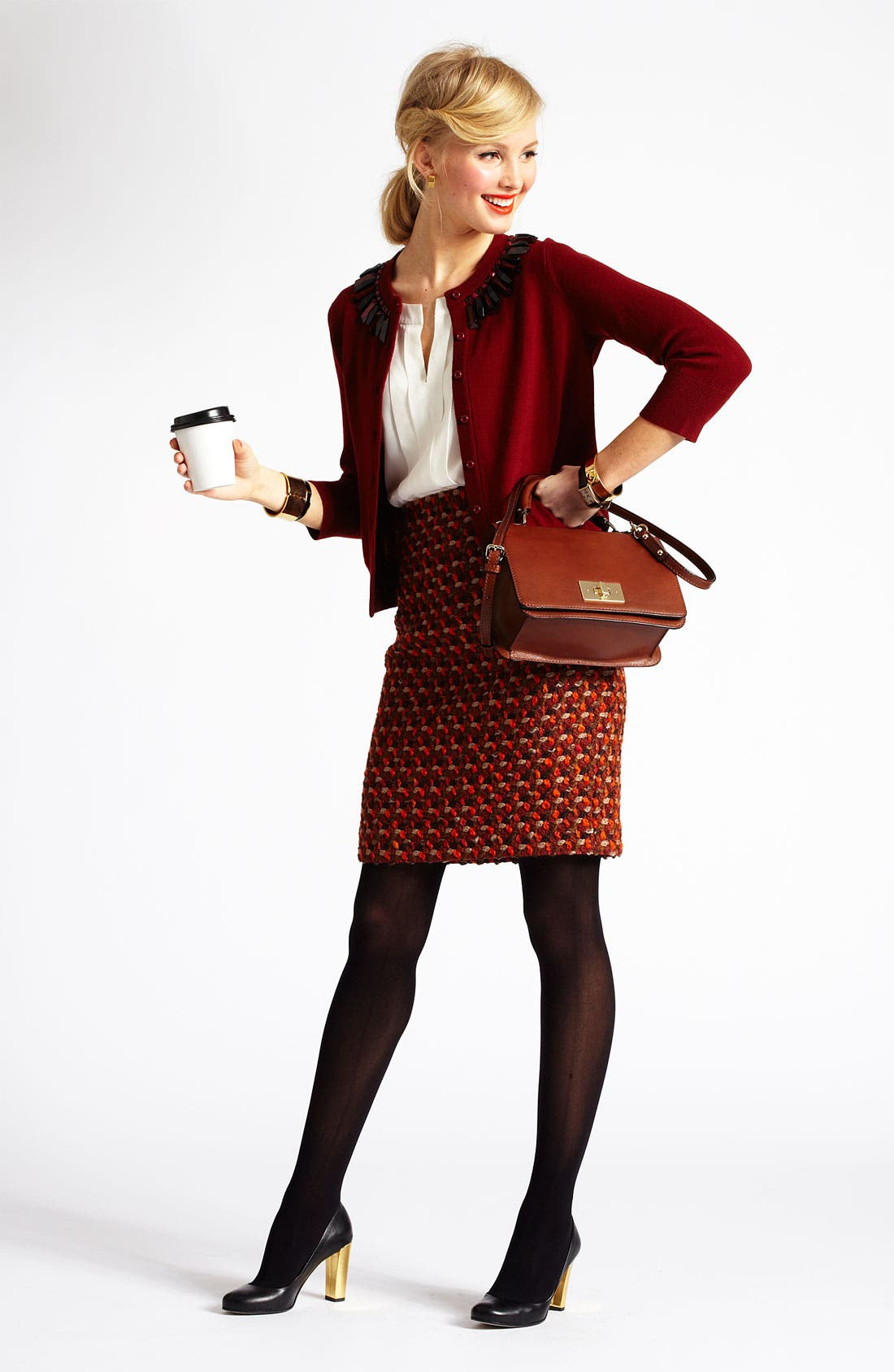 Alternate Image 1 Selected - kate spade new york cardigan, blouse & skirt