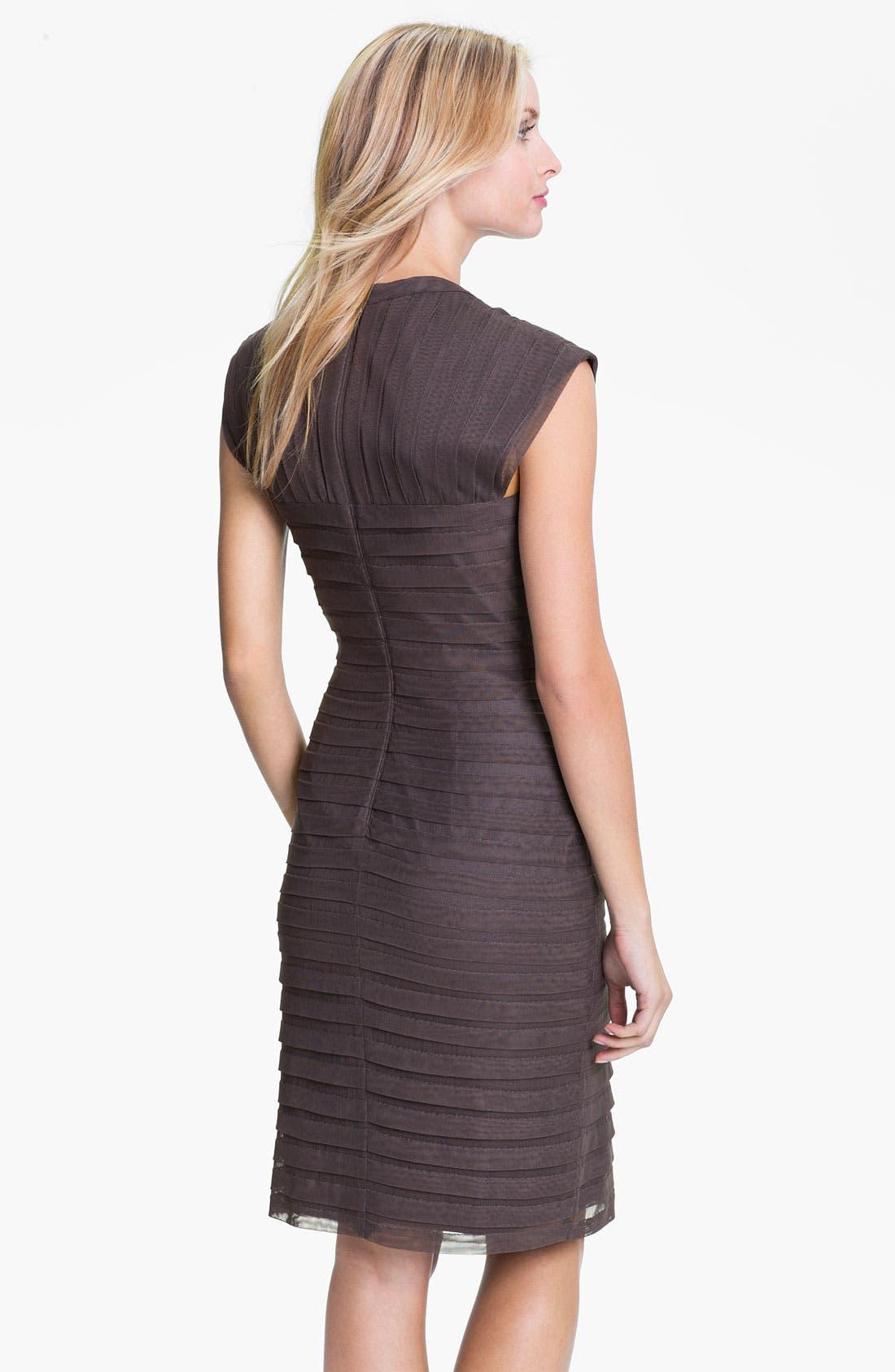 Alternate Image 2  - Adrianna Papell Shutter Pleat Mesh & Taffeta Sheath Dress