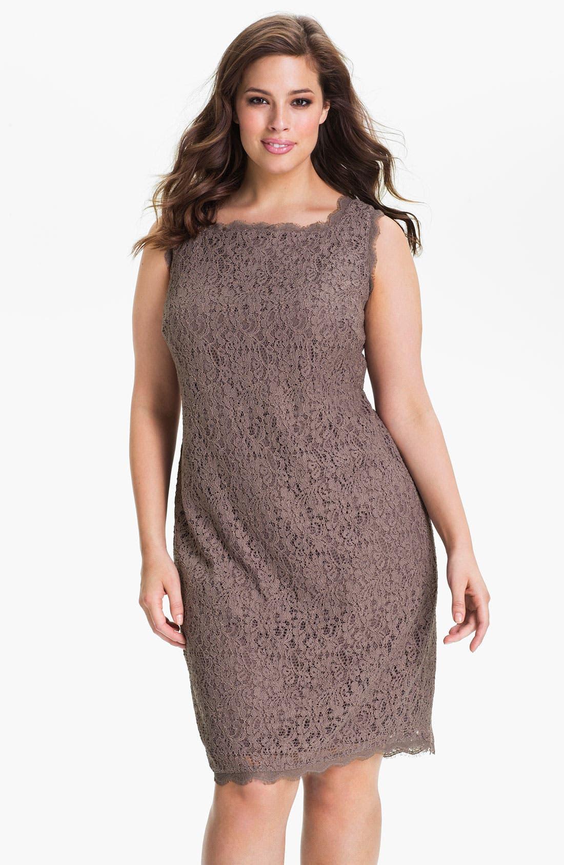 Alternate Image 1 Selected - Adrianna Papell Sleeveless Lace Sheath Dress (Plus Size)