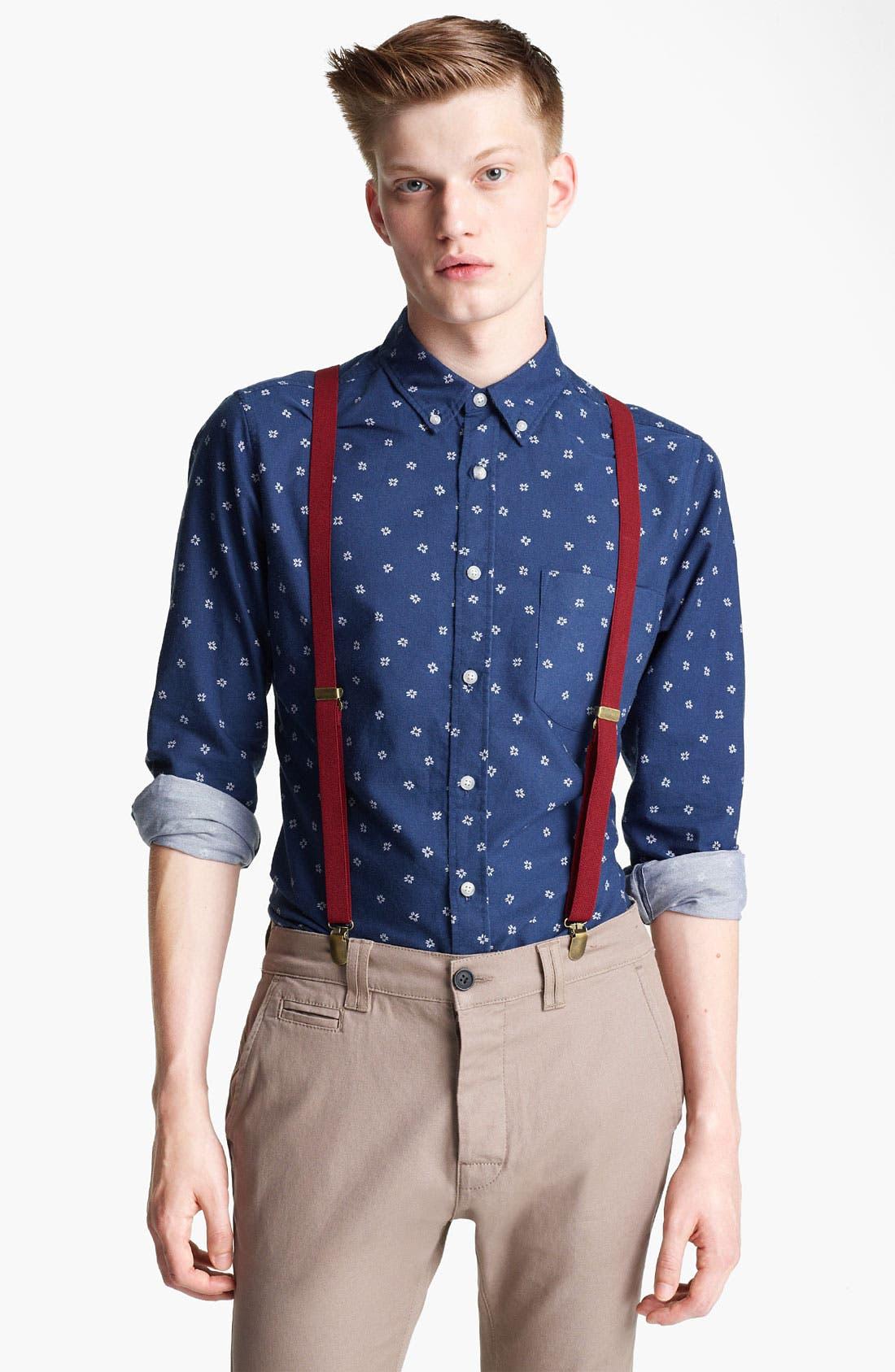 Alternate Image 1 Selected - Topman Floral Motif Woven Shirt