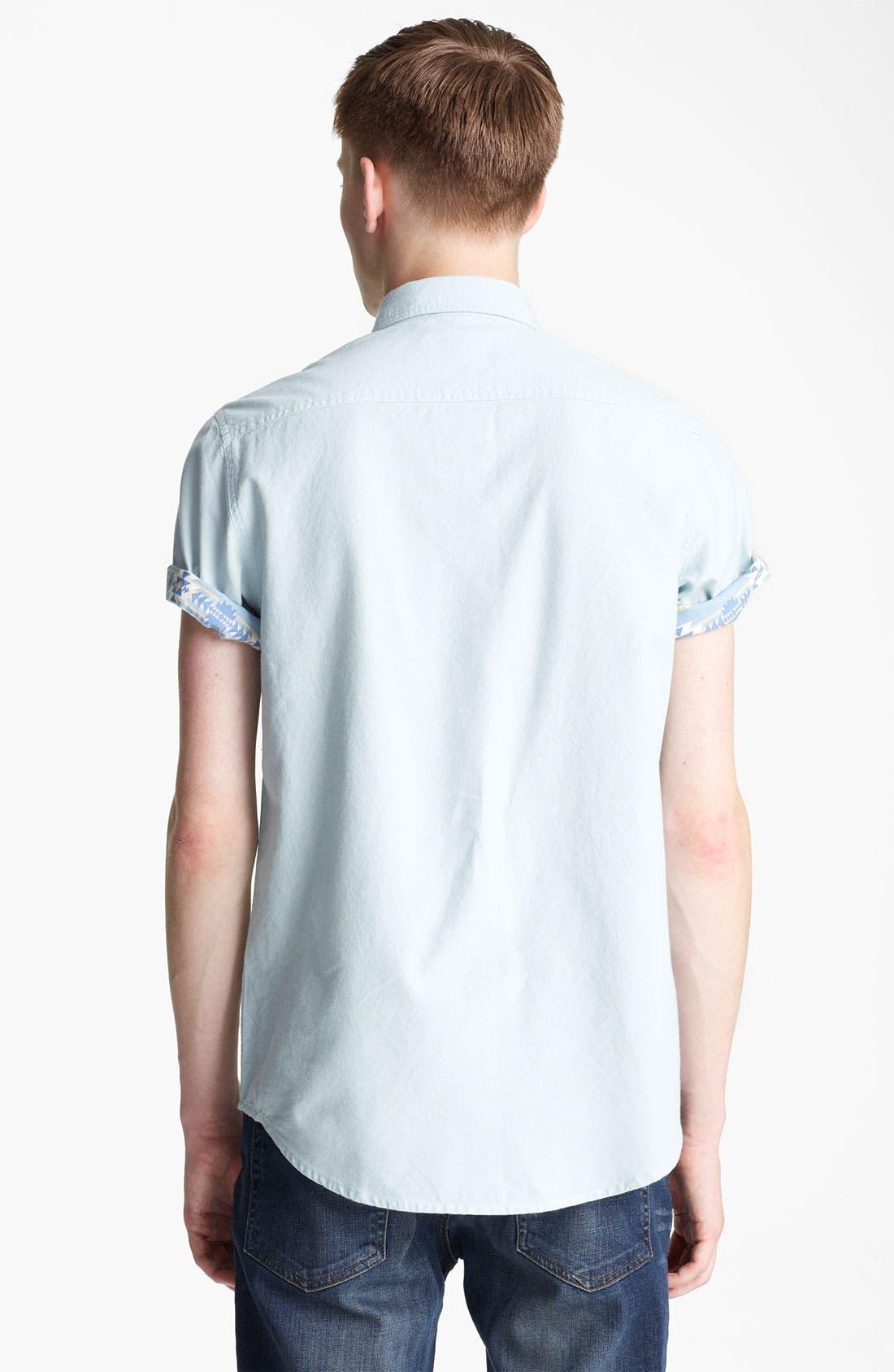 Alternate Image 2  - Topman Short Sleeve Chambray Shirt