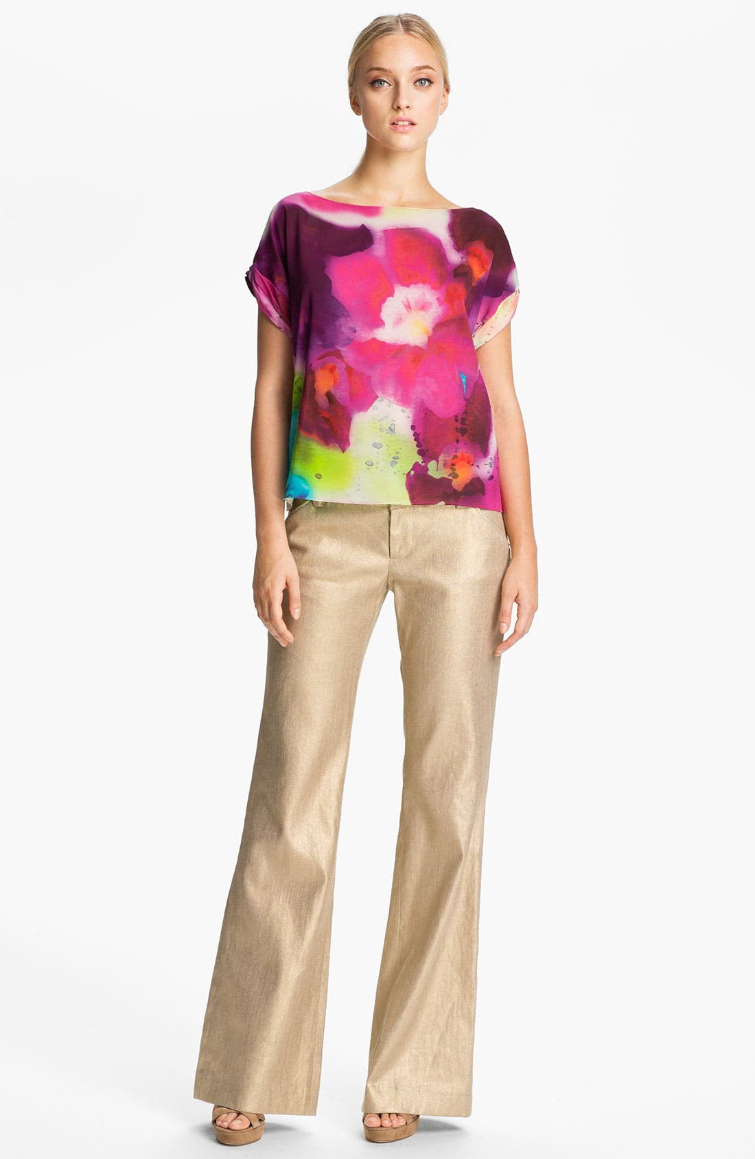 Alternate Image 1 Selected - Alice + Olivia 'Sonya' Stretch Silk Blouse