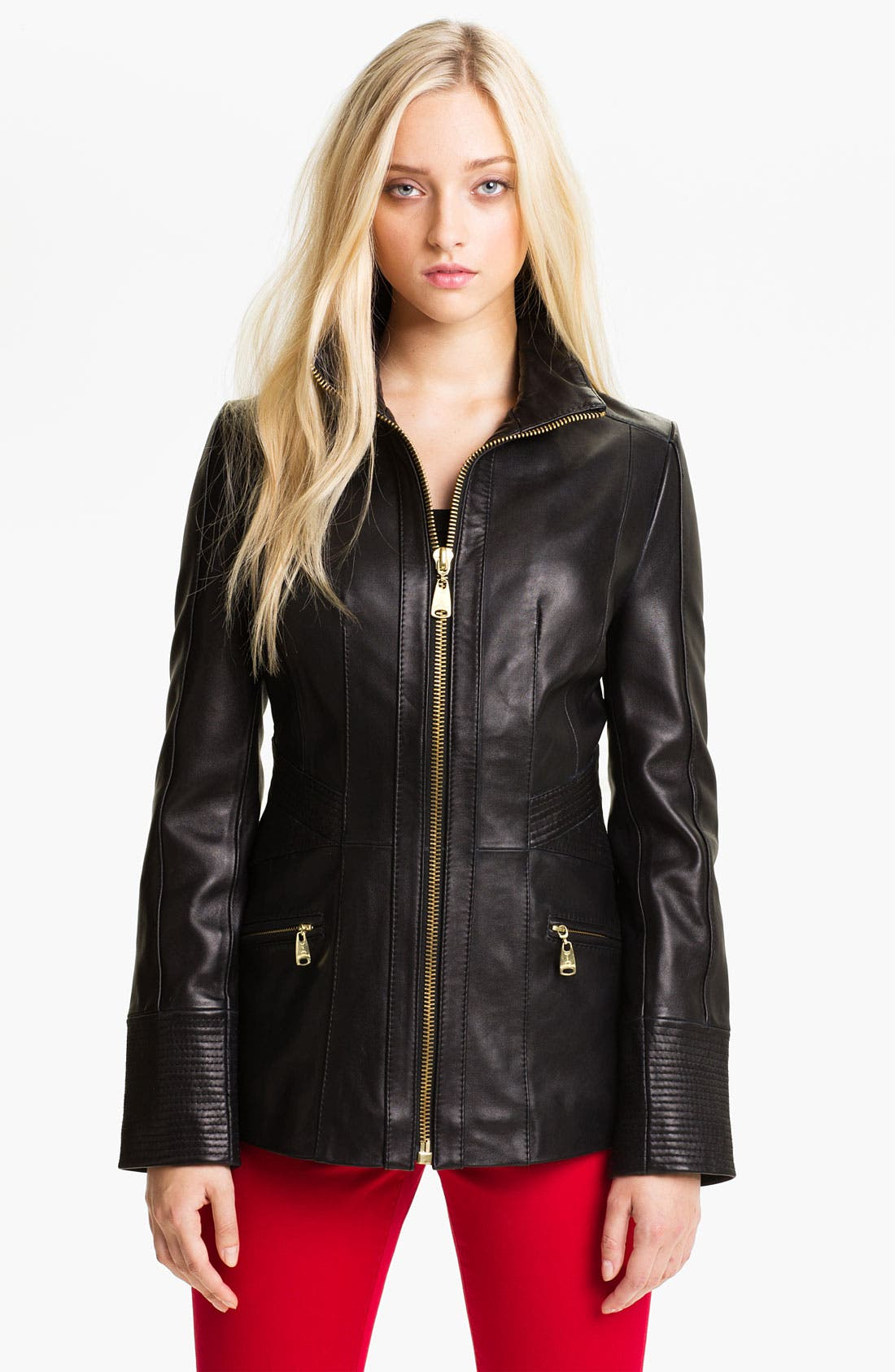 Main Image - Via Spiga Funnel Neck Leather Jacket