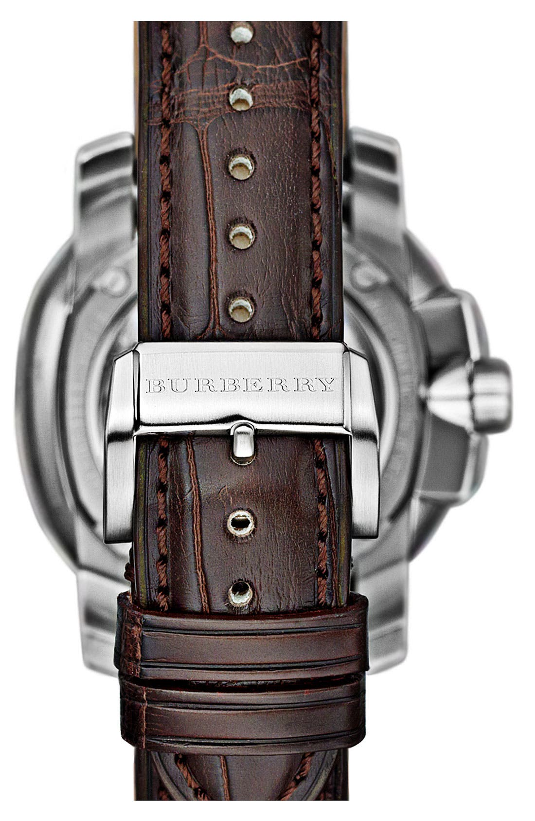 Alternate Image 3  - Burberry The Britain Automatic Alligator Strap Watch, 43mm
