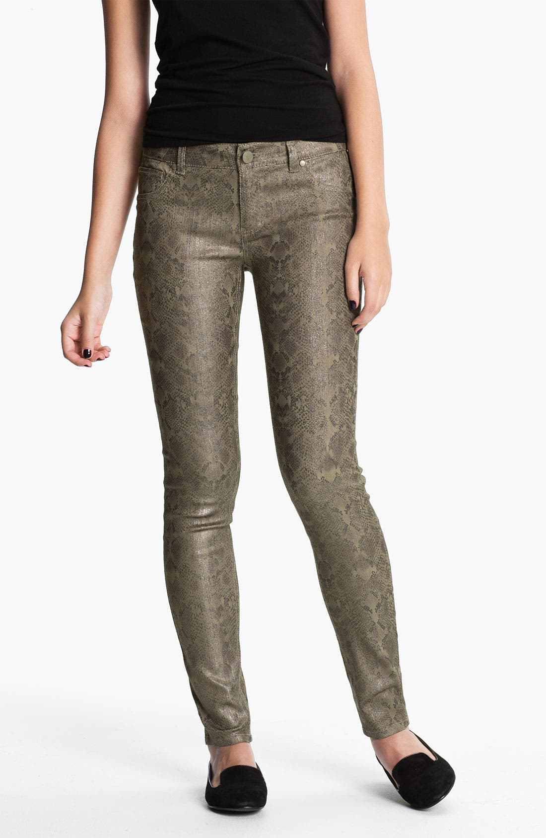 Alternate Image 2  - Fire Metallic Snake Print Skinny Jeans (Juniors)