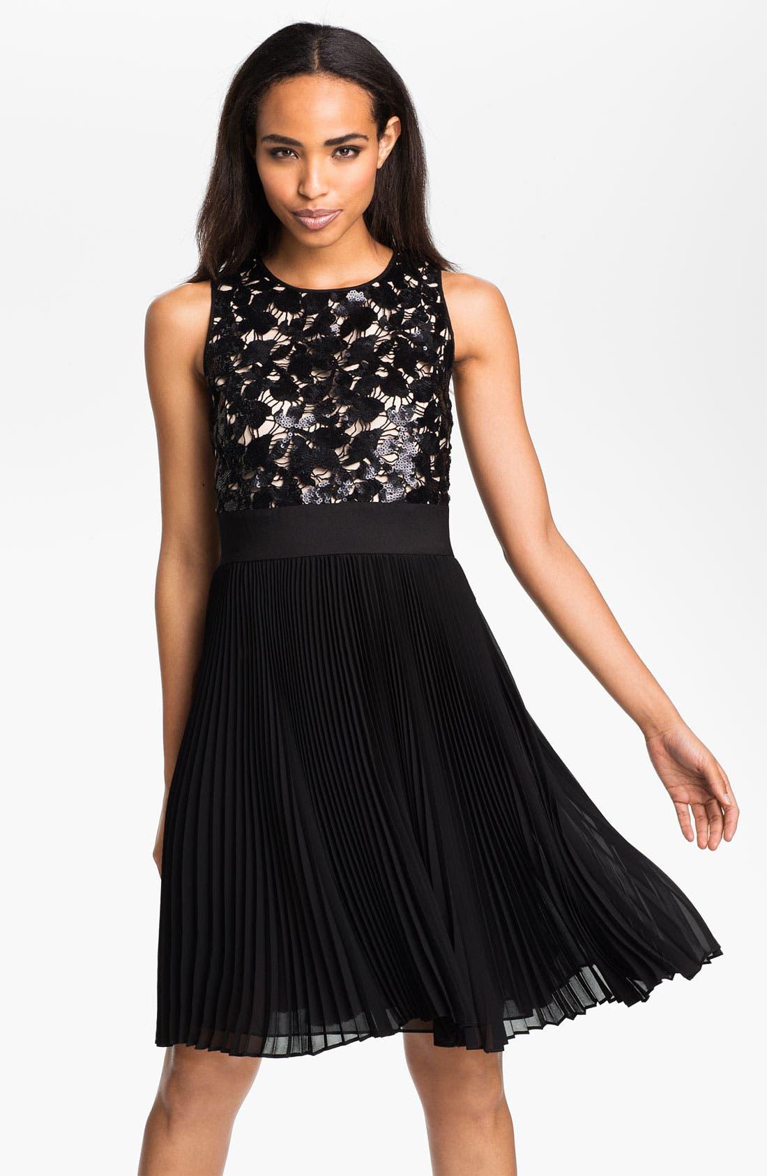 Main Image - Eliza J Sequin Bodice Pleated Fit & Flare Dress