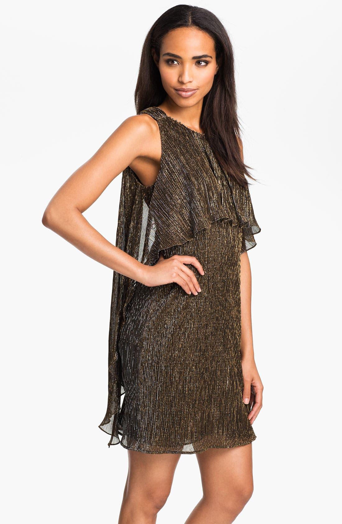 Main Image - Donna Ricco Draped Bodice Metallic Dress