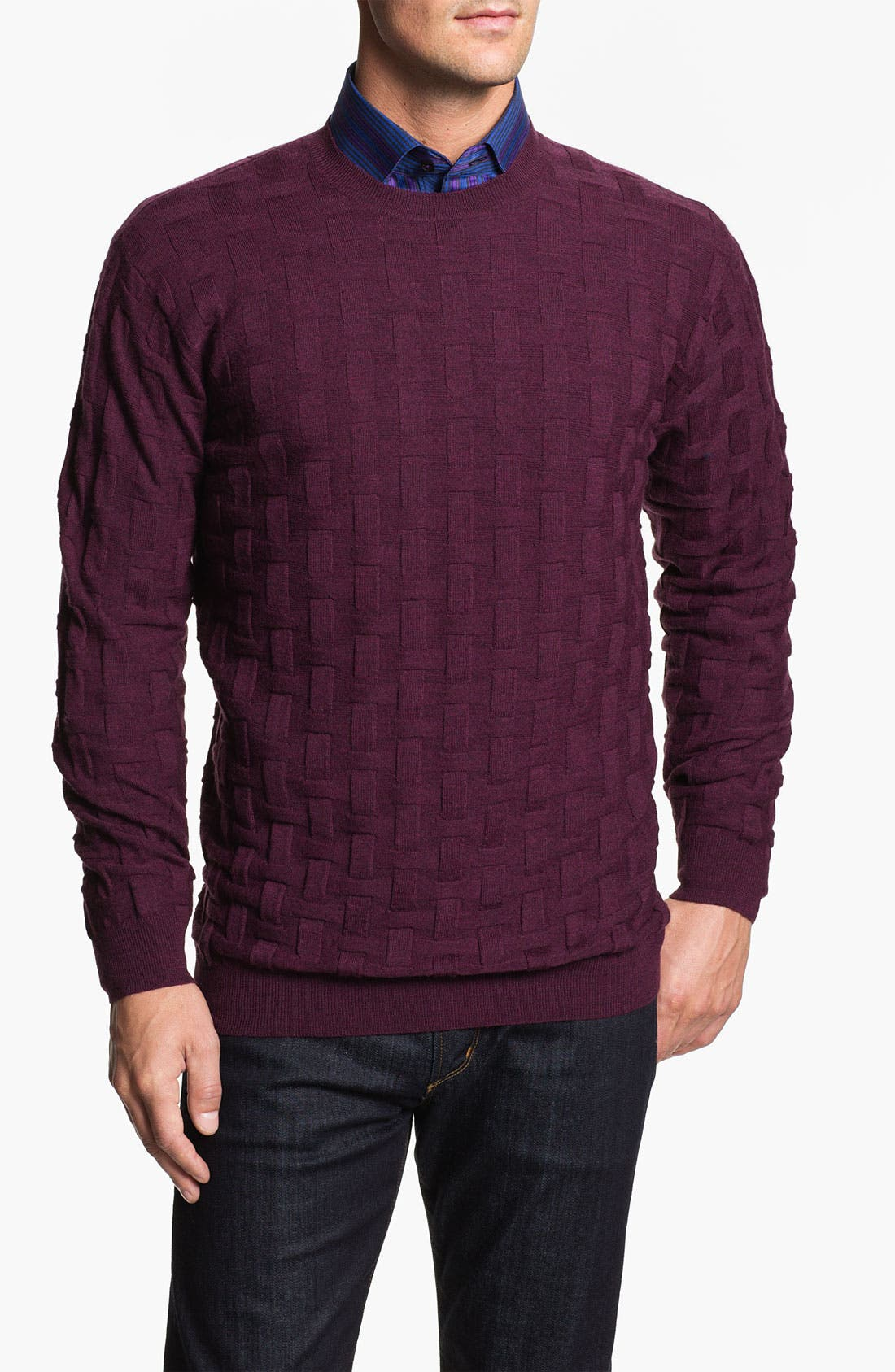 Alternate Image 1 Selected - Bugatchi Uomo Crewneck Merino Wool Sweater