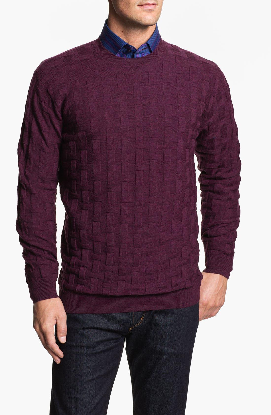 Main Image - Bugatchi Uomo Crewneck Merino Wool Sweater