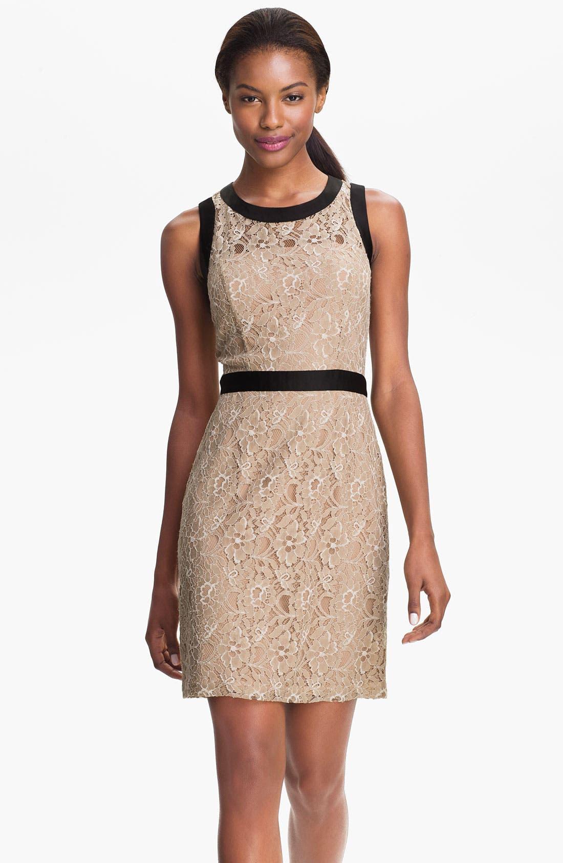 Main Image - Max & Cleo Satin Trim Lace Sheath Dress