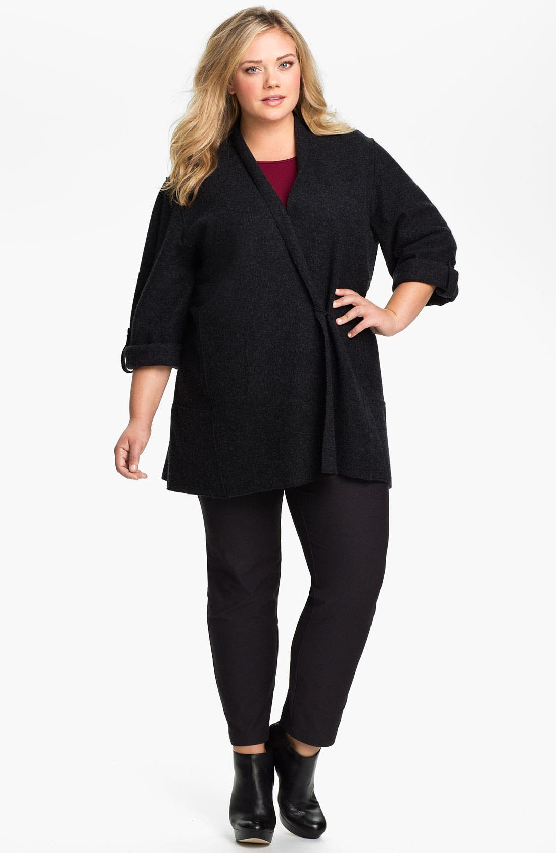 Alternate Image 3  - Eileen Fisher Merino Wool Roll Sleeve Jacket (Plus)
