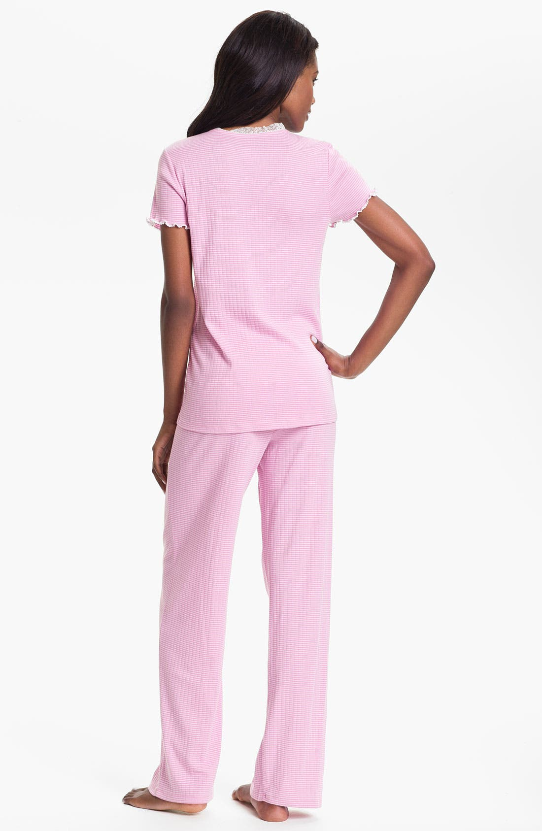 Alternate Image 2  - Lauren Ralph Lauren Lace Trim Ribbed Knit Pajamas