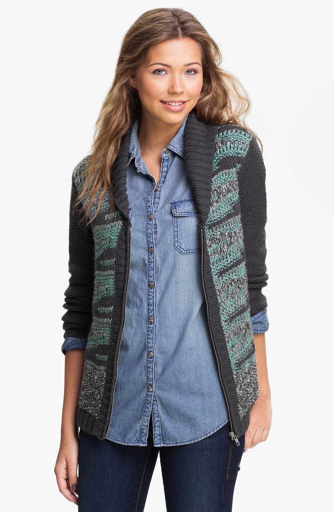 Alternate Image 1 Selected - Rubbish® Drop Stitch Stripe Cardigan (Juniors)