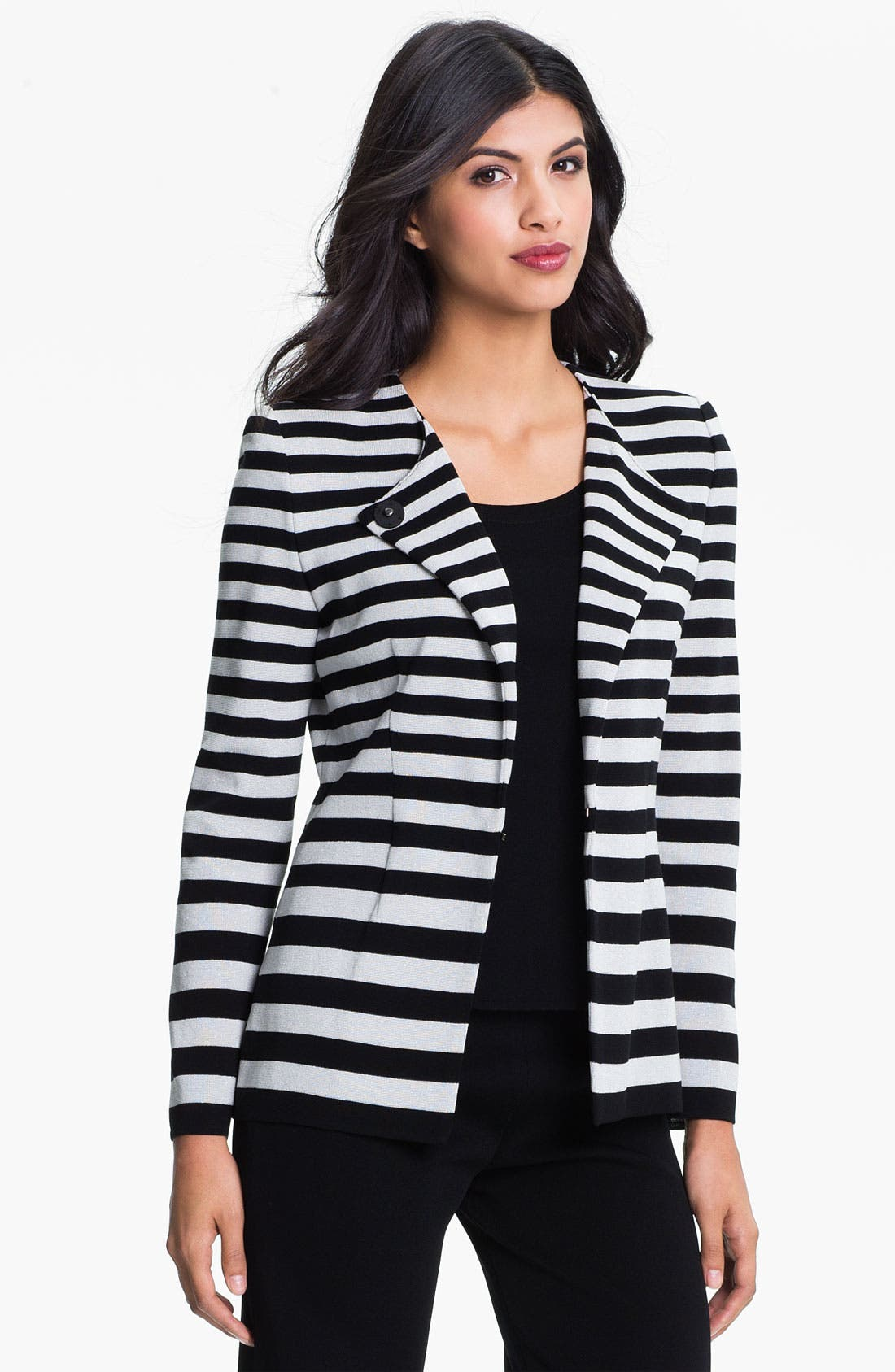 Alternate Image 1 Selected - Exclusively Misook Stripe Knit Jacket