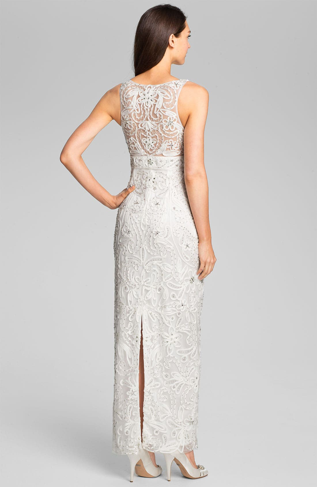 Alternate Image 2  - Sue Wong V-Neck Embroidered Column Gown