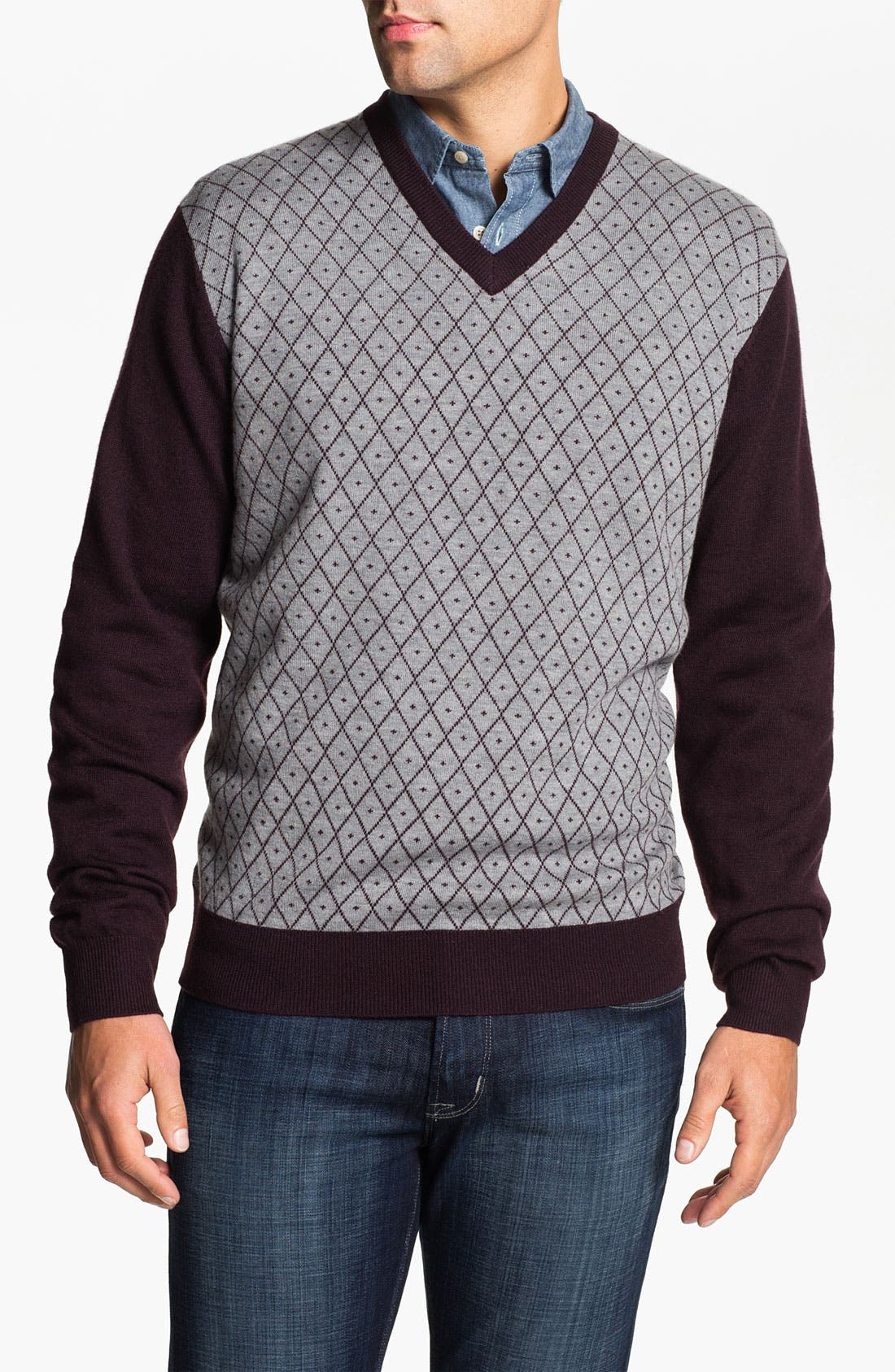 Alternate Image 1 Selected - Toscano Merino Wool Blend V-Neck Sweater