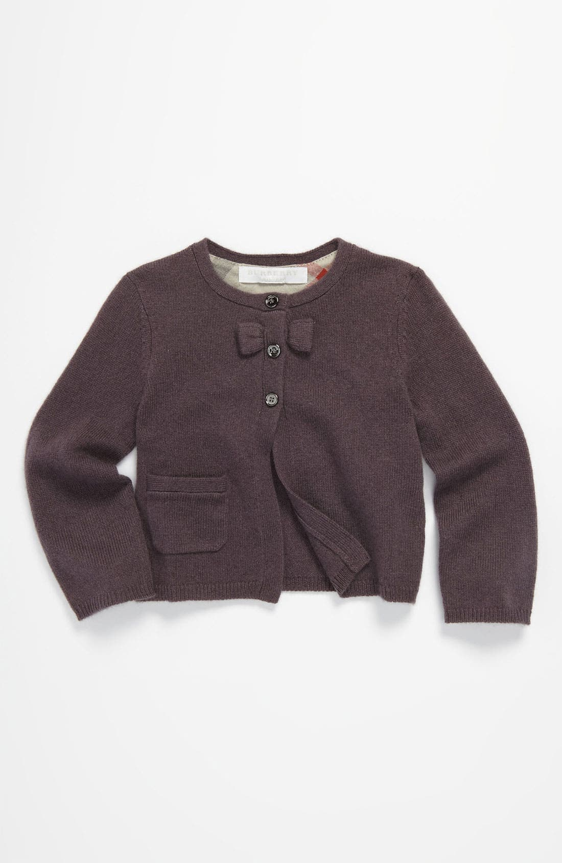 Alternate Image 1 Selected - Burberry Bow Trimmed Cashmere Cardigan (Infant)