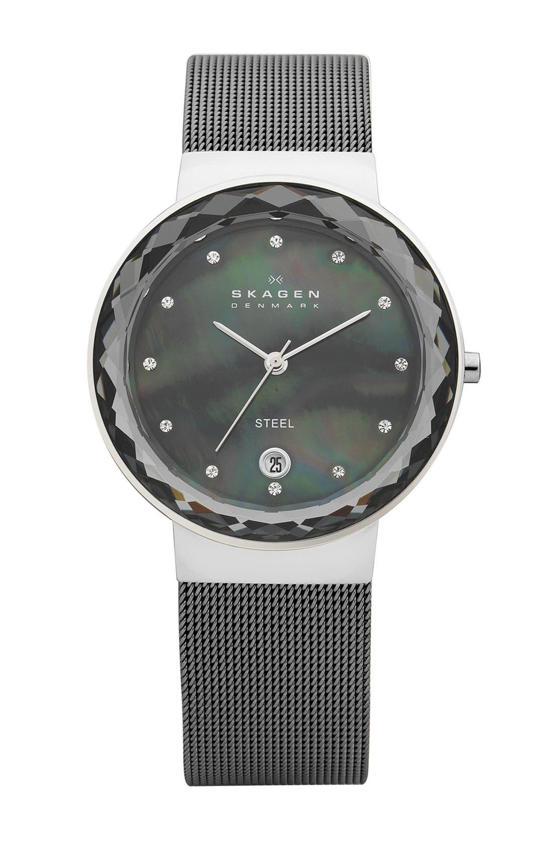 Main Image - Skagen 'Leonora' Faceted Glass Bezel Watch, 34mm