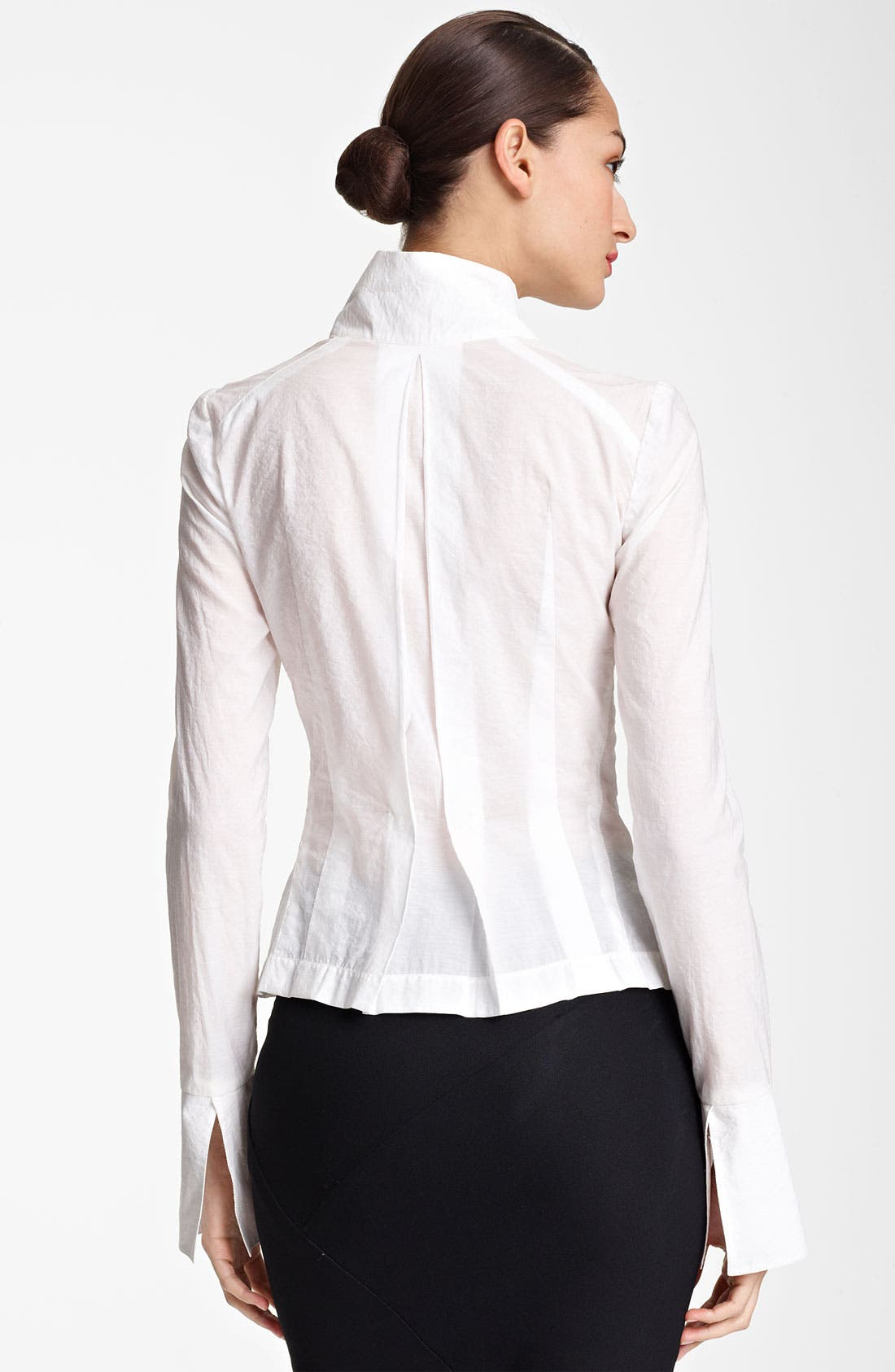 Alternate Image 2  - Donna Karan Collection Crystal Pin Paper Cotton Shirt