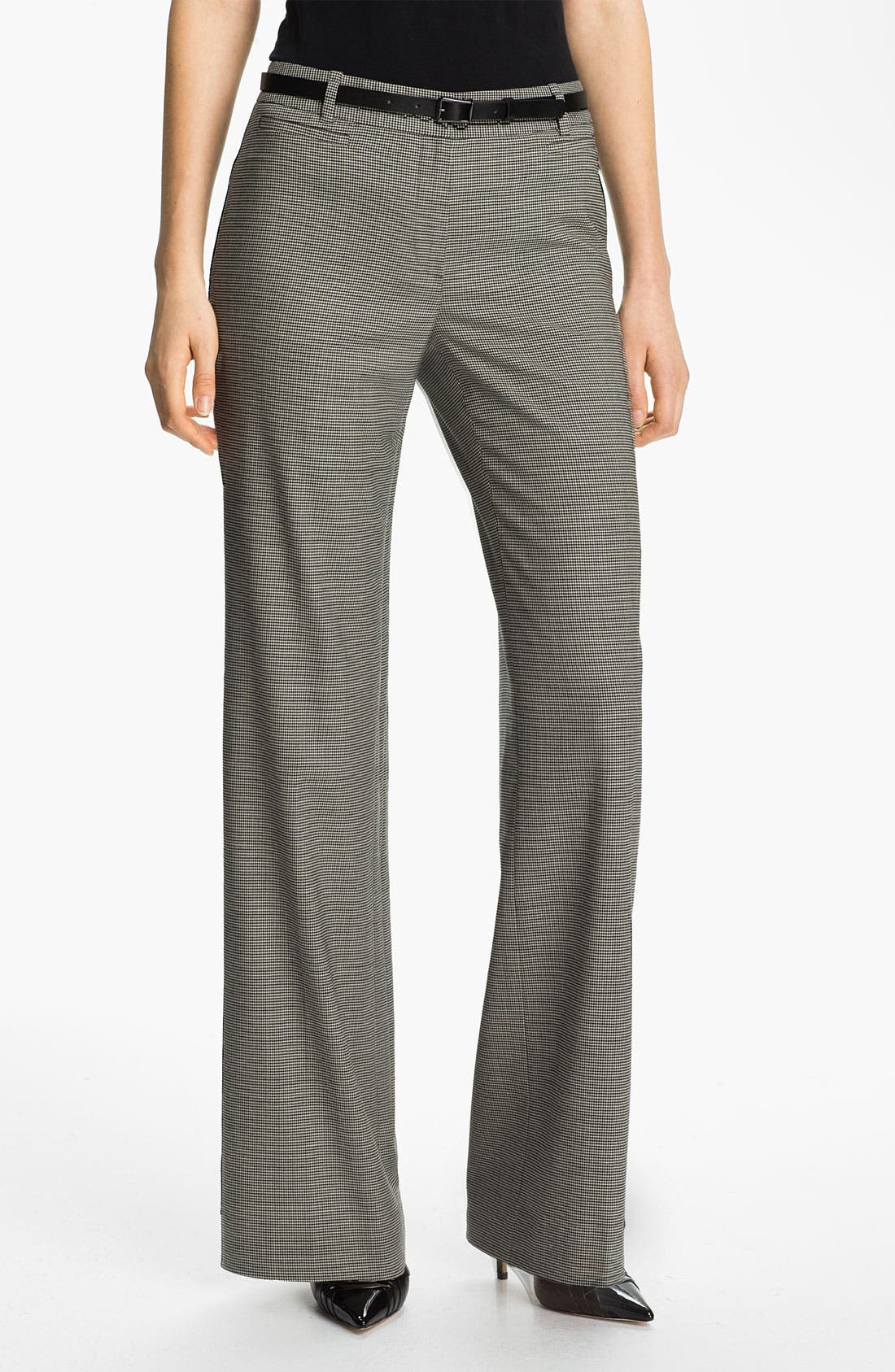 Main Image - Classiques Entier® Belted Houndstooth Stretch Wool Pants